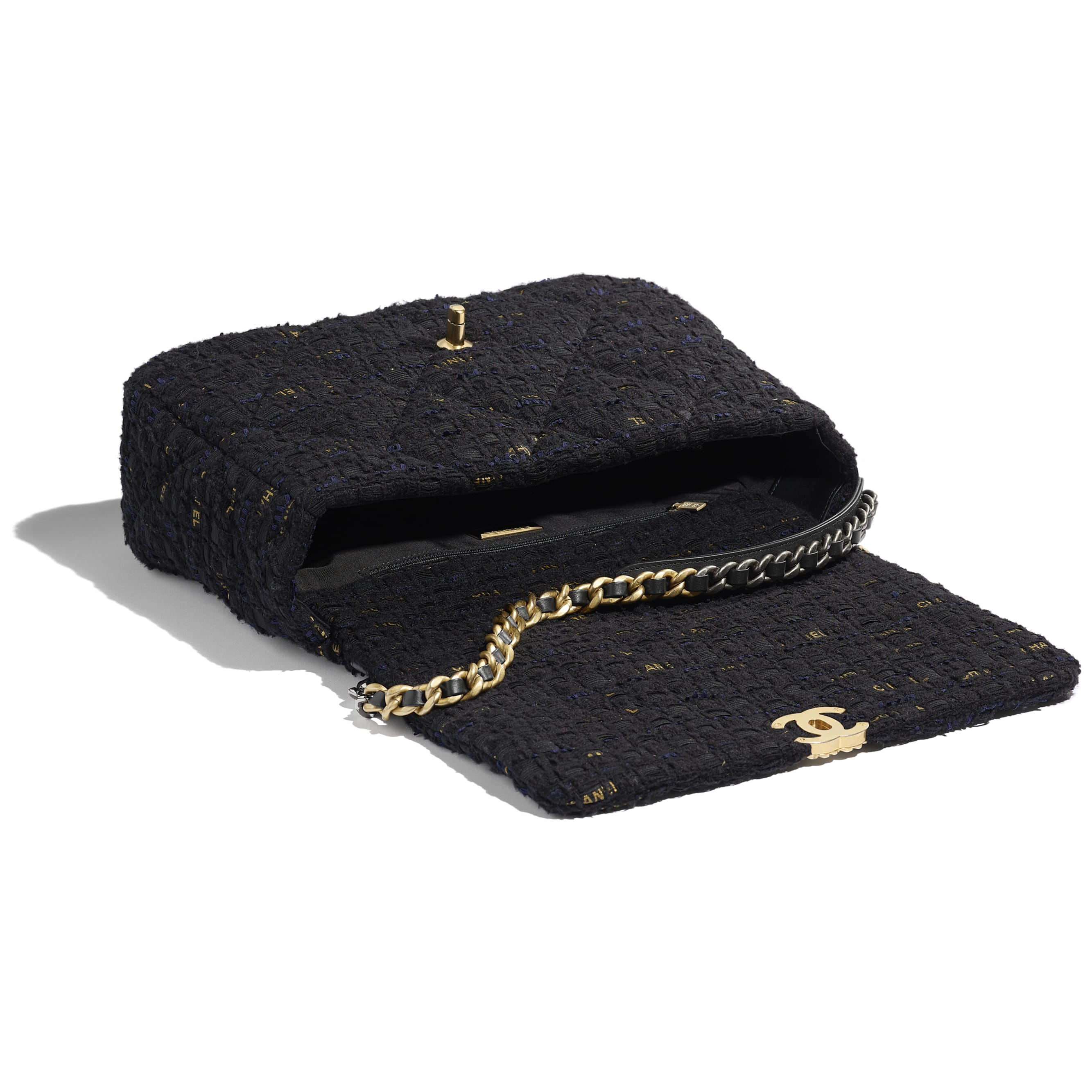 CHANEL 19 Maxi Flap Bag - Black, Navy Blue & Gold - Tweed, Gold-Tone, Silver-Tone & Ruthenium-Finish Metal - CHANEL - Other view - see standard sized version