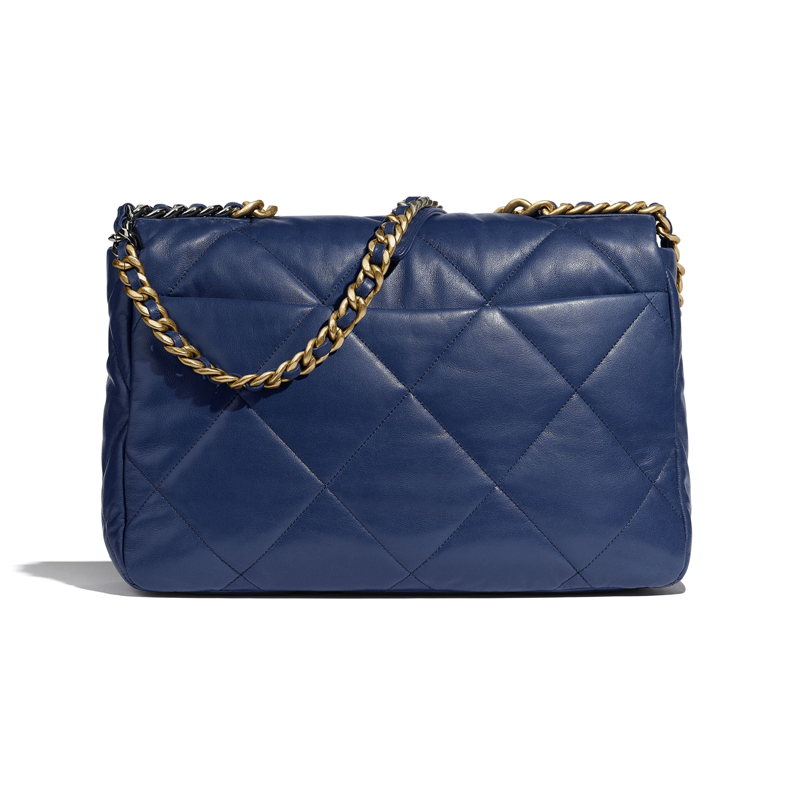 CHANEL 19 Maxi Flap Bag - Dark Blue - Goatskin, Gold-Tone, Silver-Tone & Ruthenium-Finish Metal - CHANEL - Alternative view - see standard sized version
