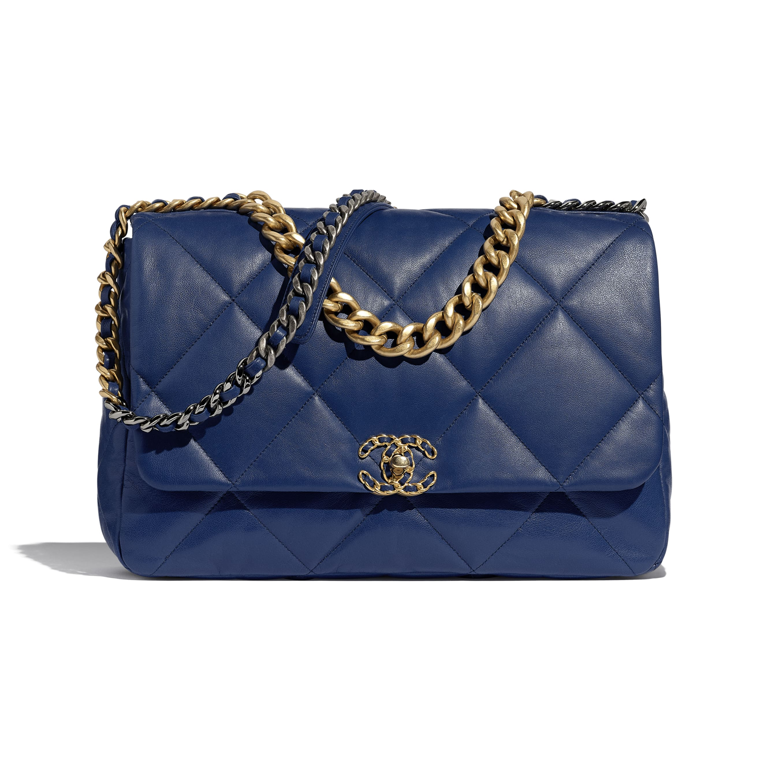 CHANEL 19 Maxi Flap Bag - Dark Blue - Goatskin, Gold-Tone, Silver-Tone & Ruthenium-Finish Metal - CHANEL - Default view - see standard sized version