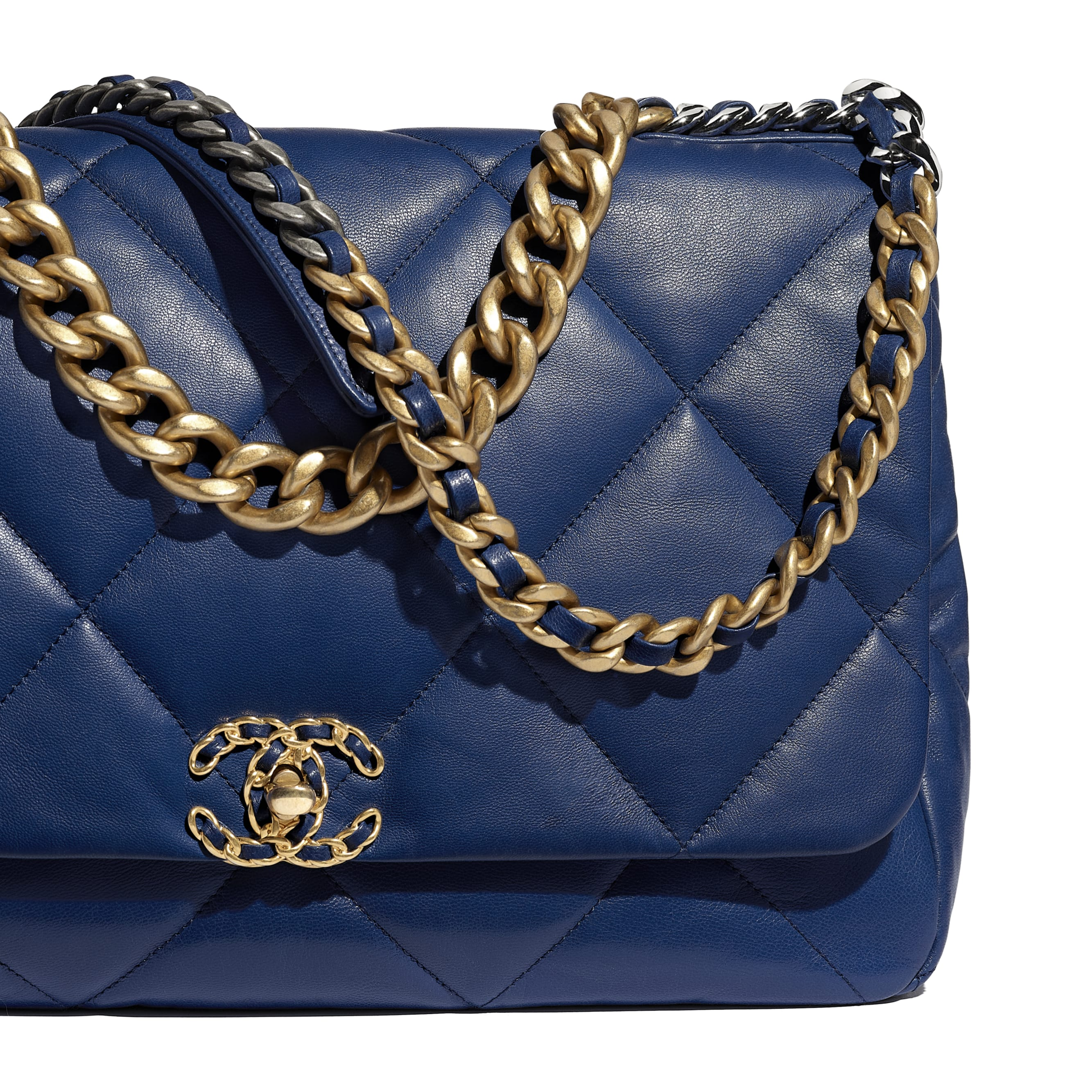 CHANEL 19 Maxi Flap Bag - Dark Blue - Goatskin, Gold-Tone, Silver-Tone & Ruthenium-Finish Metal - Extra view - see standard sized version