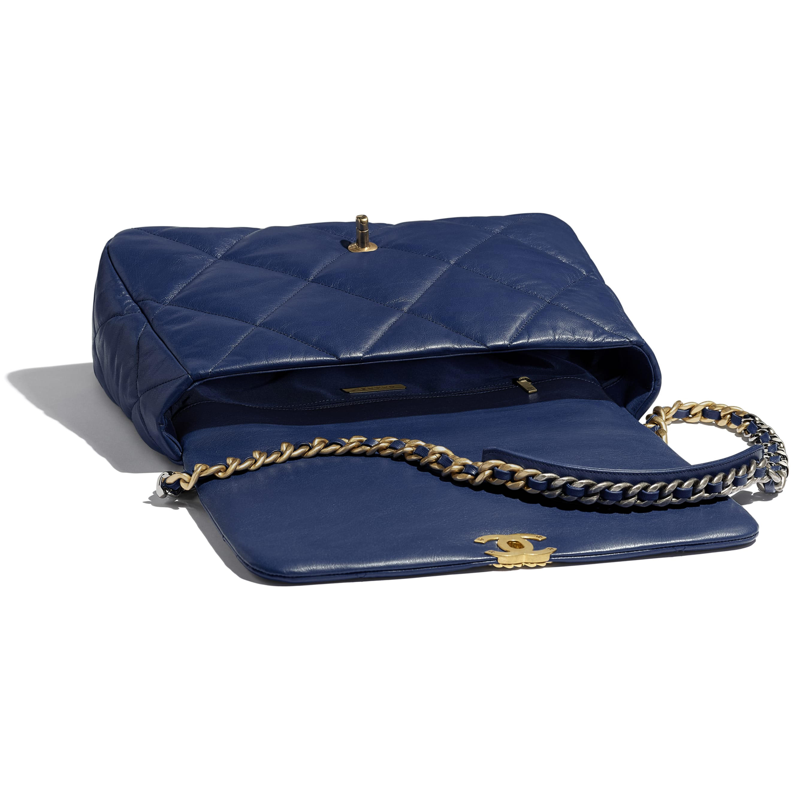 CHANEL 19 Maxi Flap Bag - Dark Blue - Goatskin, Gold-Tone, Silver-Tone & Ruthenium-Finish Metal - Other view - see standard sized version