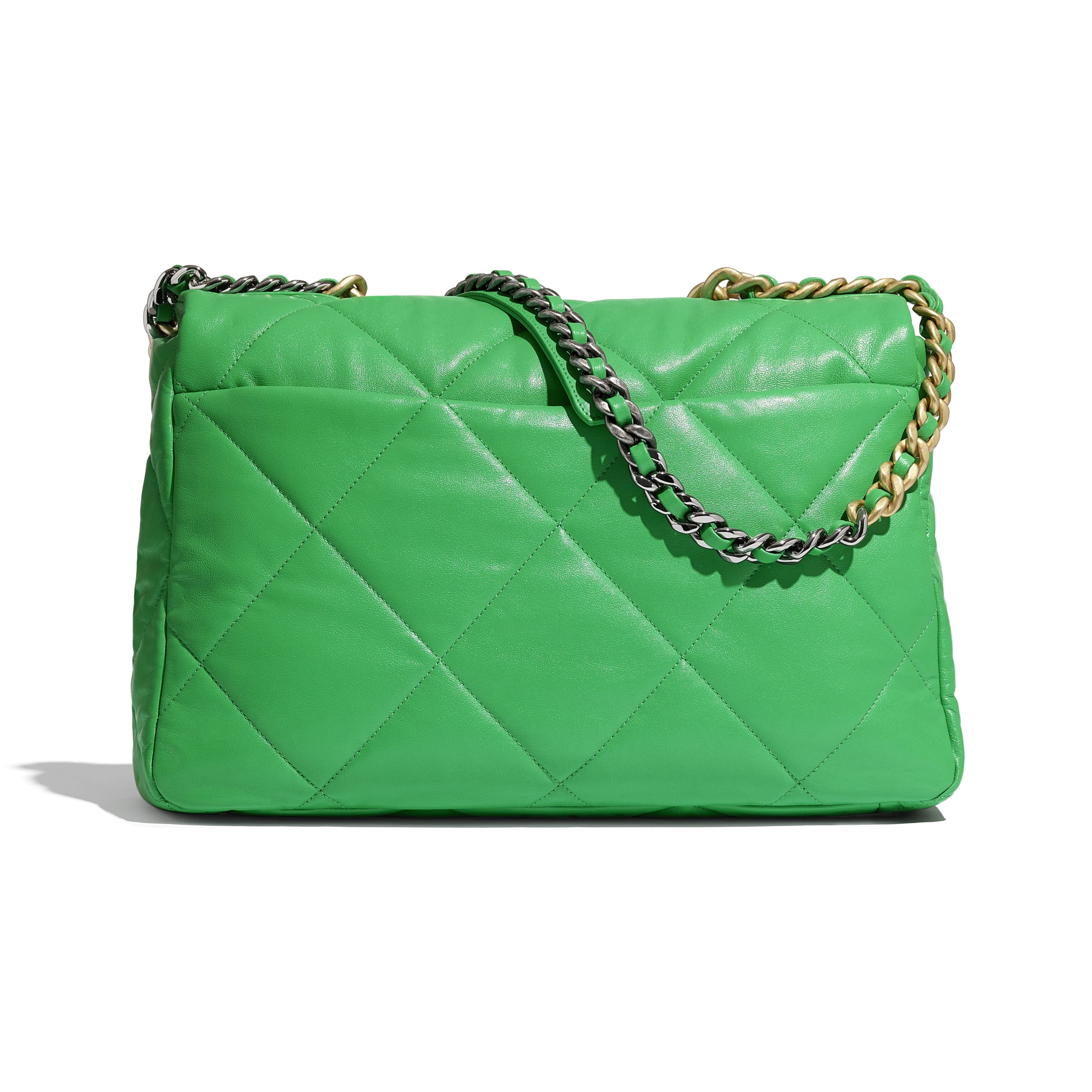 CHANEL 19 Maxi Flap Bag - Green - Lambskin, Gold-Tone, Silver-Tone & Ruthenium-Finish Metal - CHANEL - Alternative view - see standard sized version