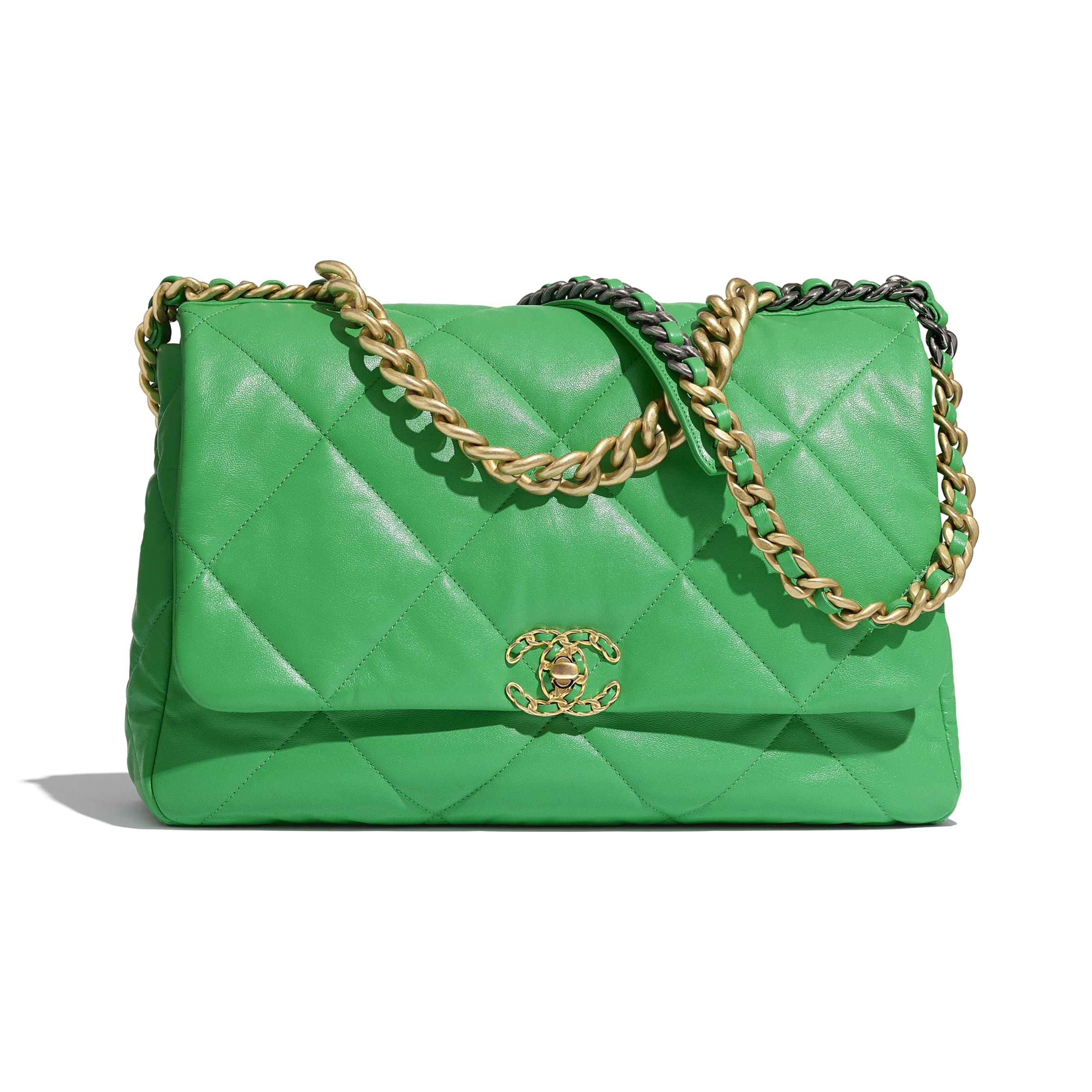 CHANEL 19 Maxi Flap Bag - Green - Lambskin, Gold-Tone, Silver-Tone & Ruthenium-Finish Metal - Default view - see standard sized version