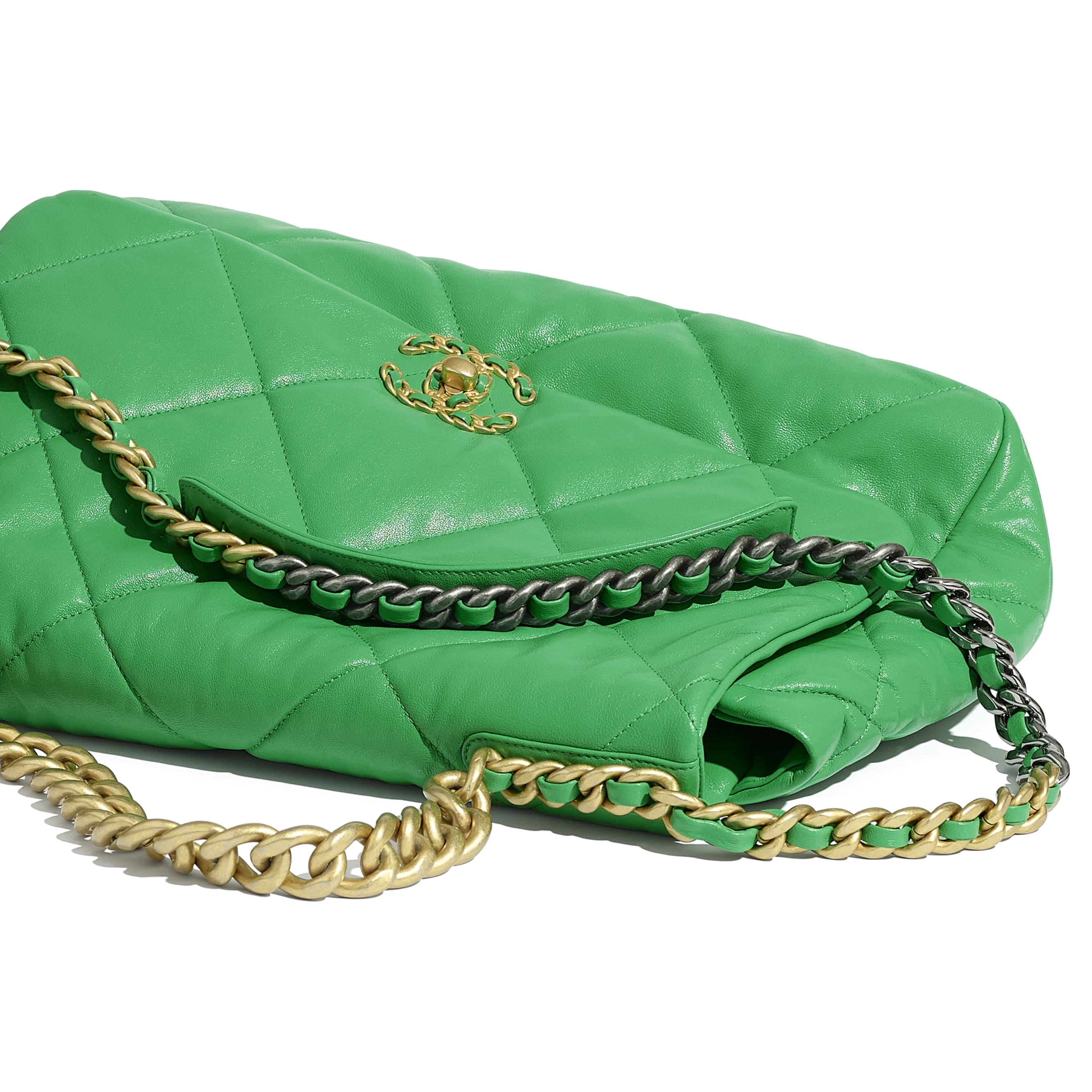 CHANEL 19 Maxi Flap Bag - Green - Lambskin, Gold-Tone, Silver-Tone & Ruthenium-Finish Metal - CHANEL - Extra view - see standard sized version