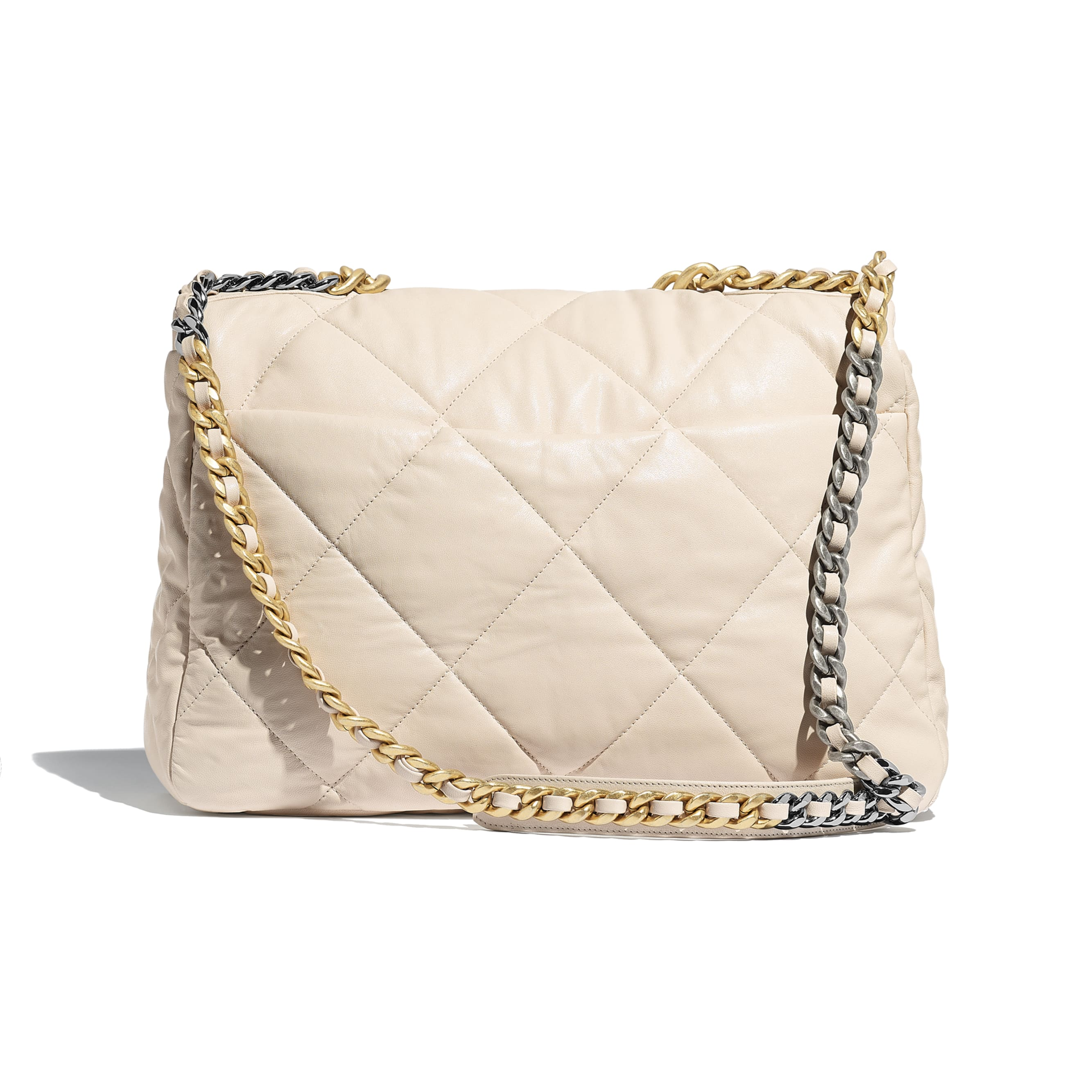 CHANEL 19 Maxi Flap Bag - Light Beige - Lambskin, Gold-Tone, Silver-Tone & Ruthenium-Finish Metal - Alternative view - see standard sized version