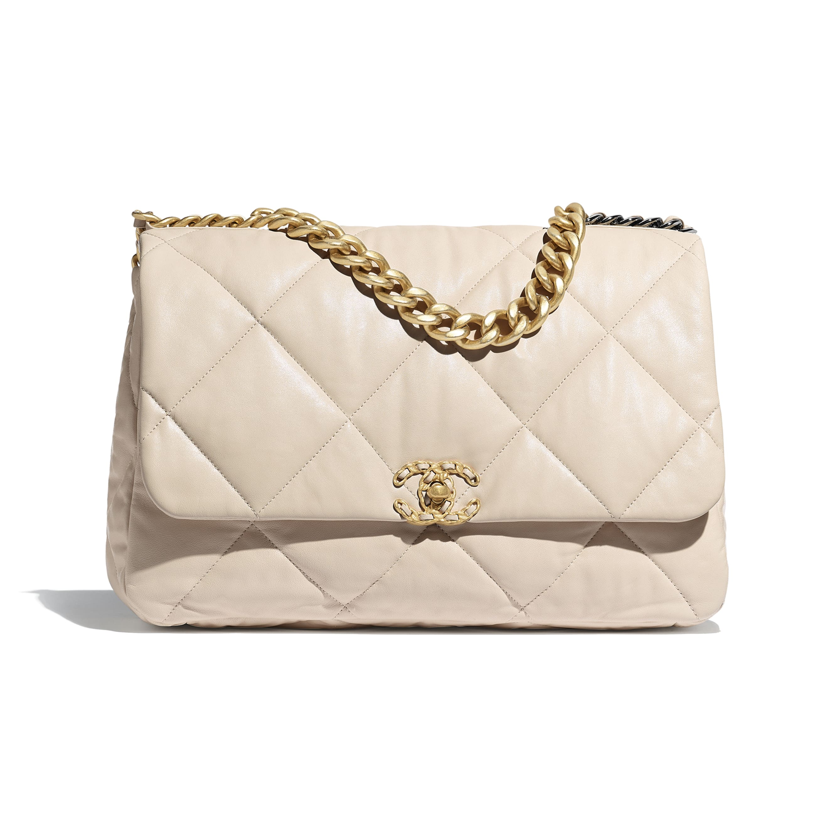 CHANEL 19 Maxi Flap Bag - Light Beige - Lambskin, Gold-Tone, Silver-Tone & Ruthenium-Finish Metal - Default view - see standard sized version