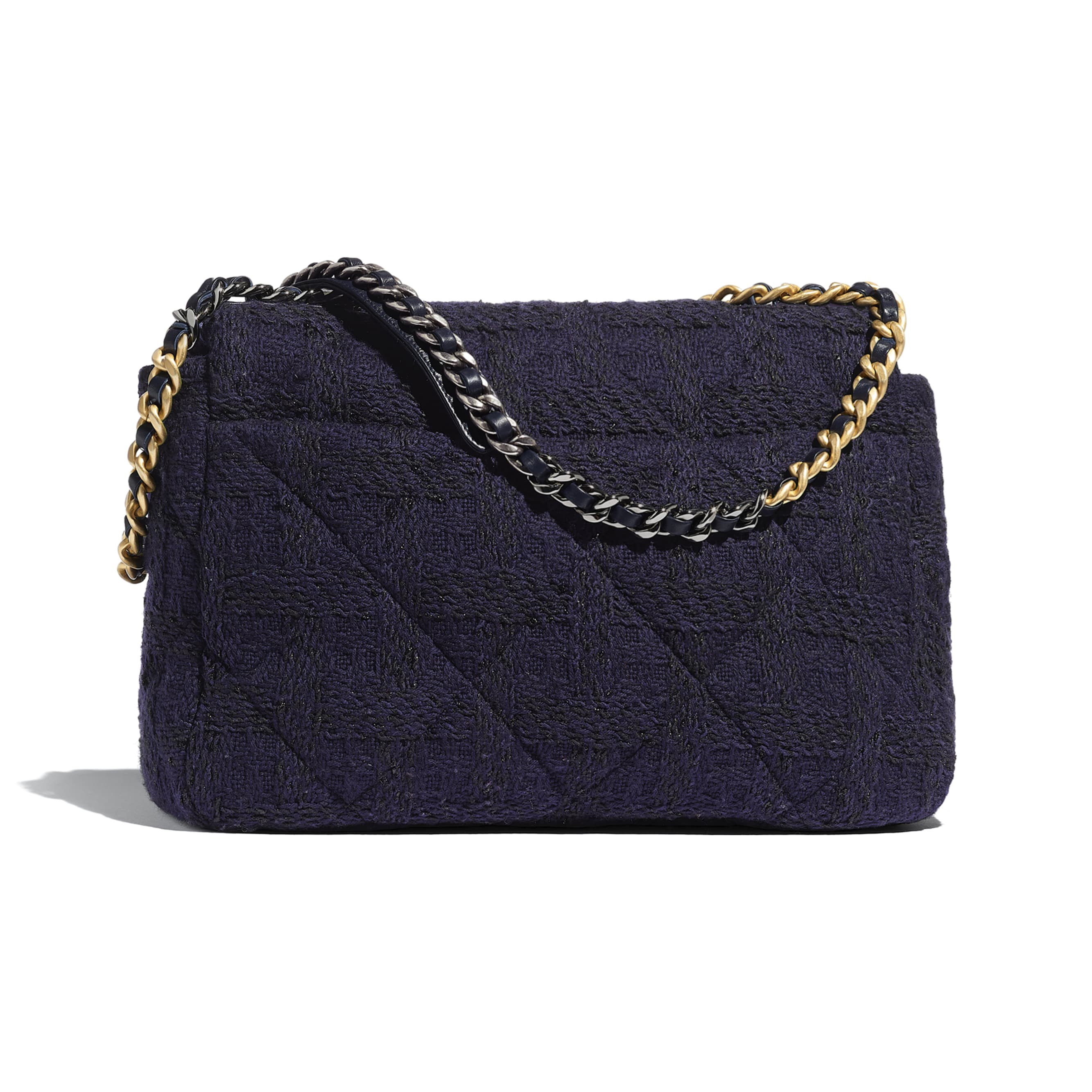 CHANEL 19 Maxi Flap Bag - Navy Blue & Black - Wool Tweed, Gold-Tone, Silver-Tone & Ruthenium-Finish Metal - Alternative view - see standard sized version