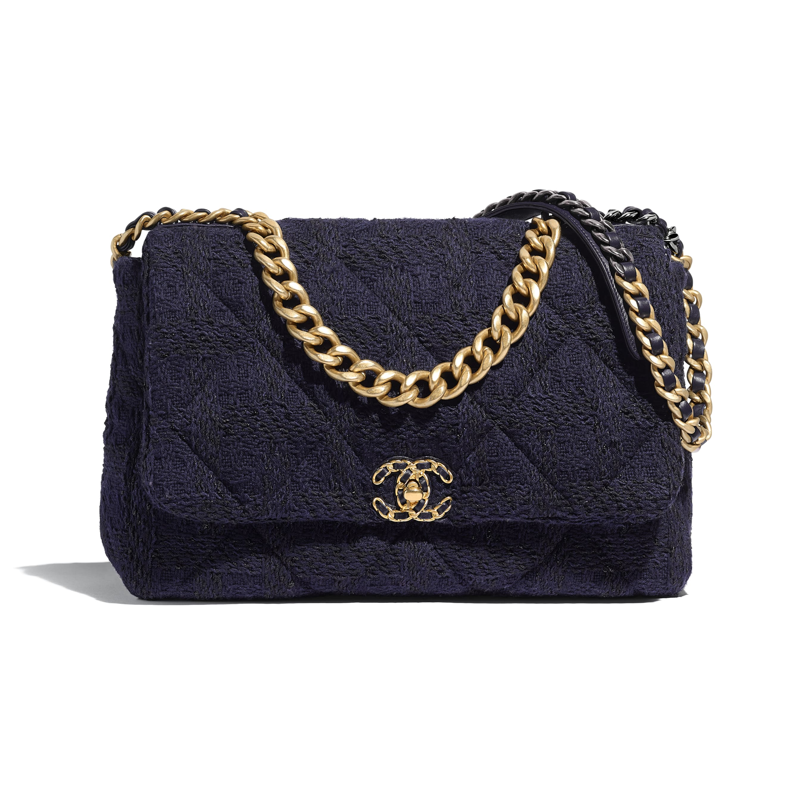 CHANEL 19 Maxi Flap Bag - Navy Blue & Black - Wool Tweed, Gold-Tone, Silver-Tone & Ruthenium-Finish Metal - Default view - see standard sized version