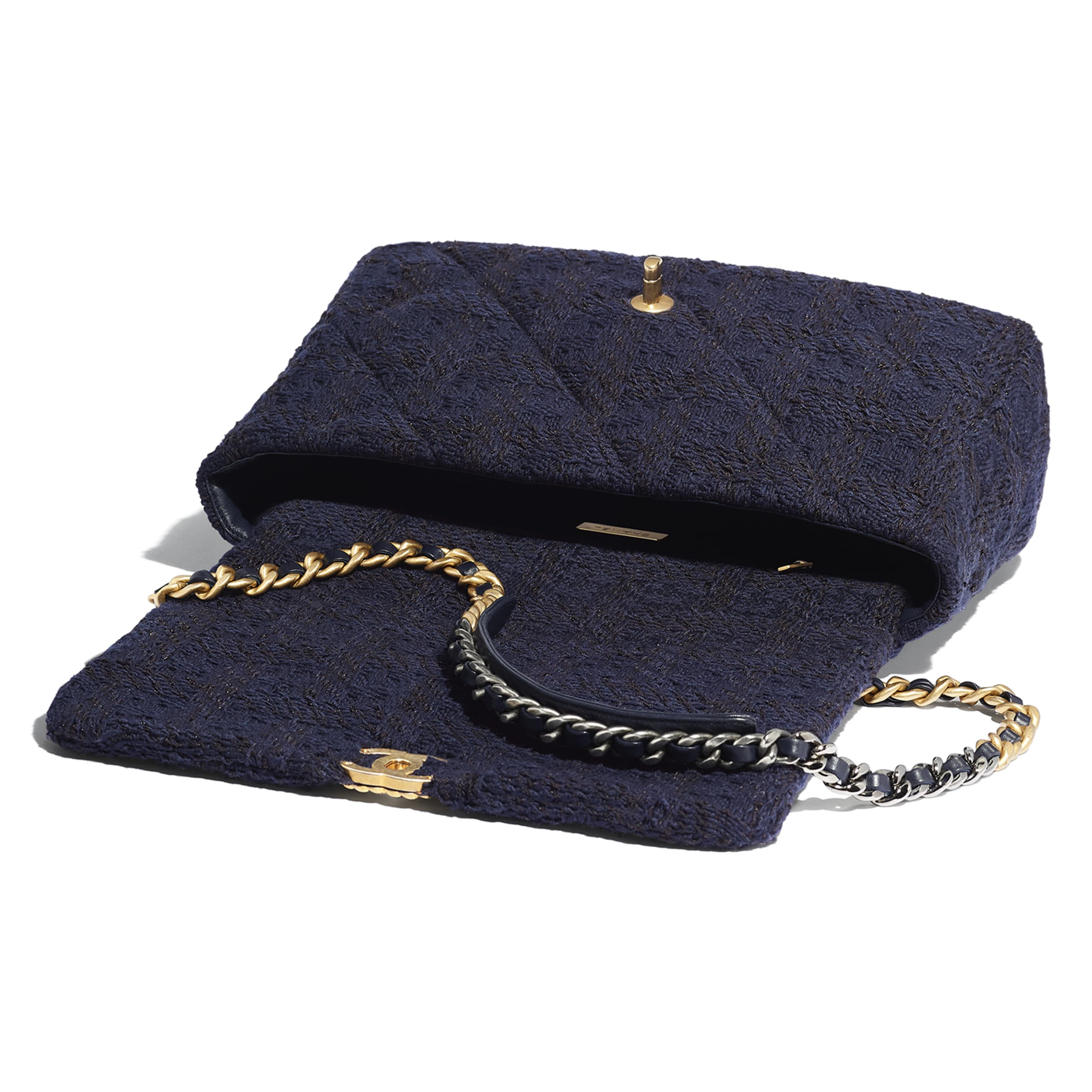 CHANEL 19 Maxi Flap Bag - Navy Blue & Black - Wool Tweed, Gold-Tone, Silver-Tone & Ruthenium-Finish Metal - Other view - see standard sized version