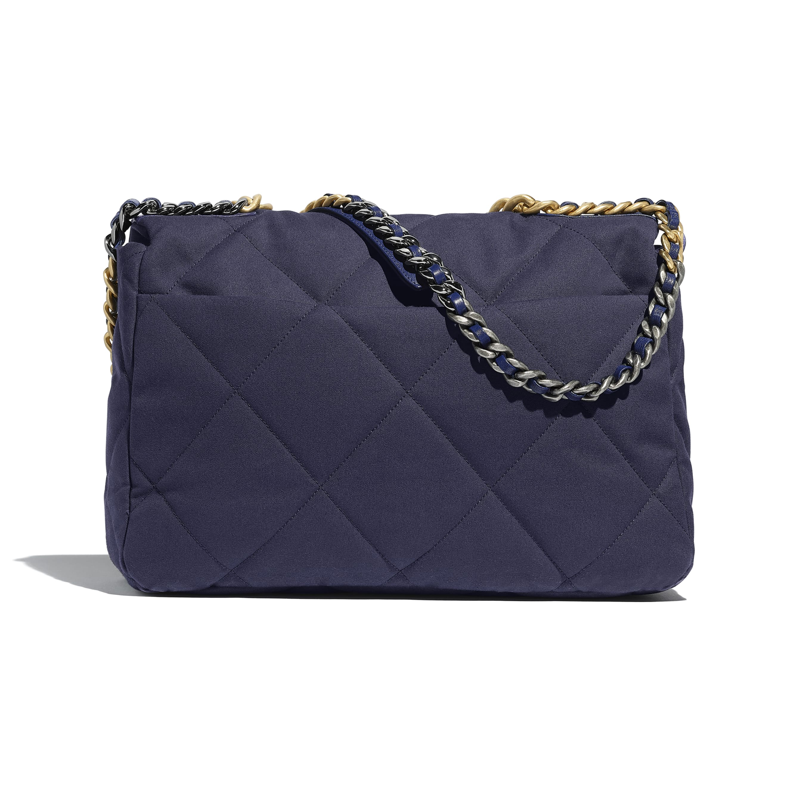 CHANEL 19 Maxi Flap Bag - Navy Blue - Cotton Canvas, Calfskin, Gold-Tone, Silver-Tone & Ruthenium-Finish Metal - Alternative view - see standard sized version