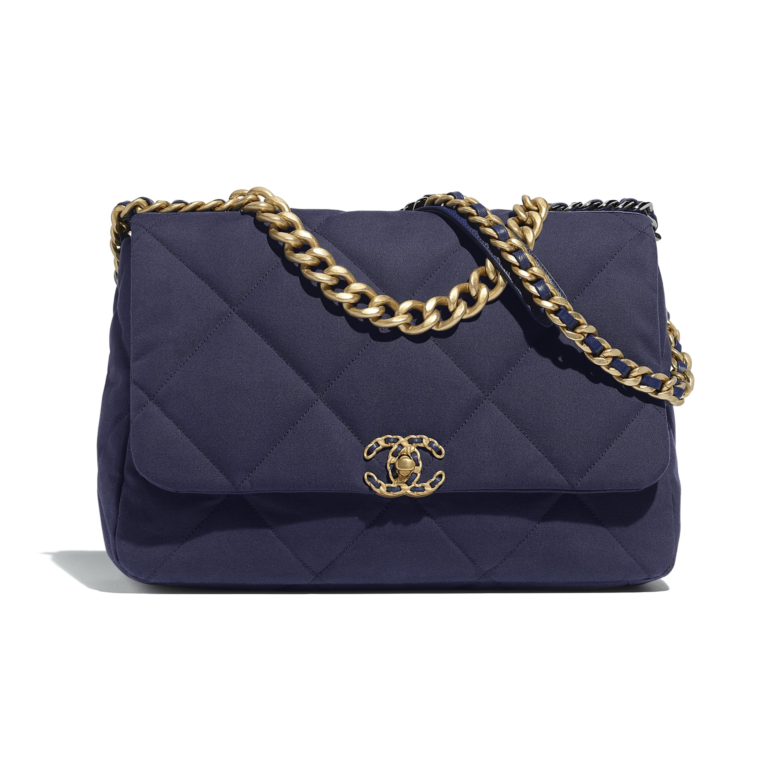 CHANEL 19 Maxi Flap Bag - Navy Blue - Cotton Canvas, Calfskin, Gold-Tone, Silver-Tone & Ruthenium-Finish Metal - Default view - see standard sized version