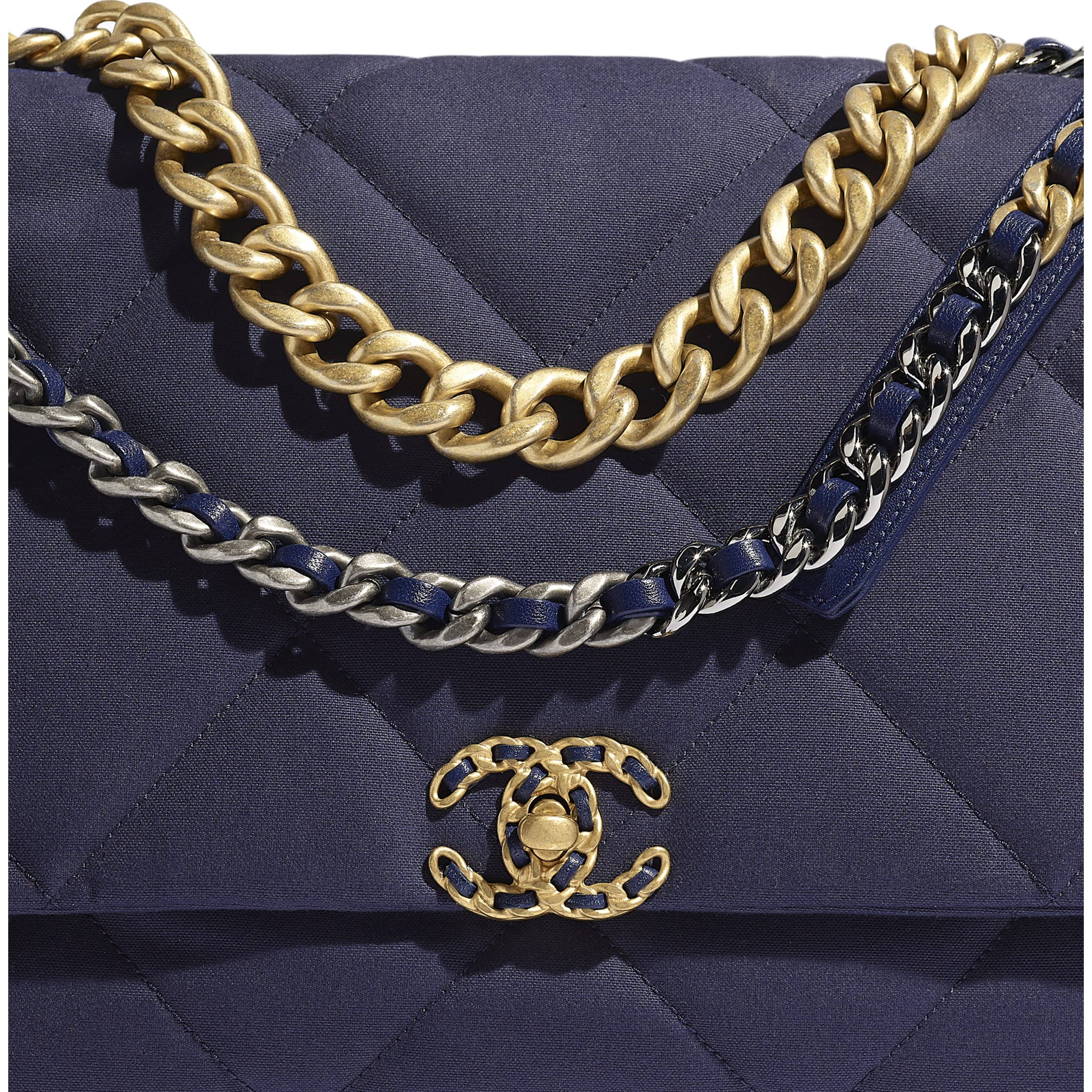 CHANEL 19 Maxi Flap Bag - Navy Blue - Cotton Canvas, Calfskin, Gold-Tone, Silver-Tone & Ruthenium-Finish Metal - Extra view - see standard sized version