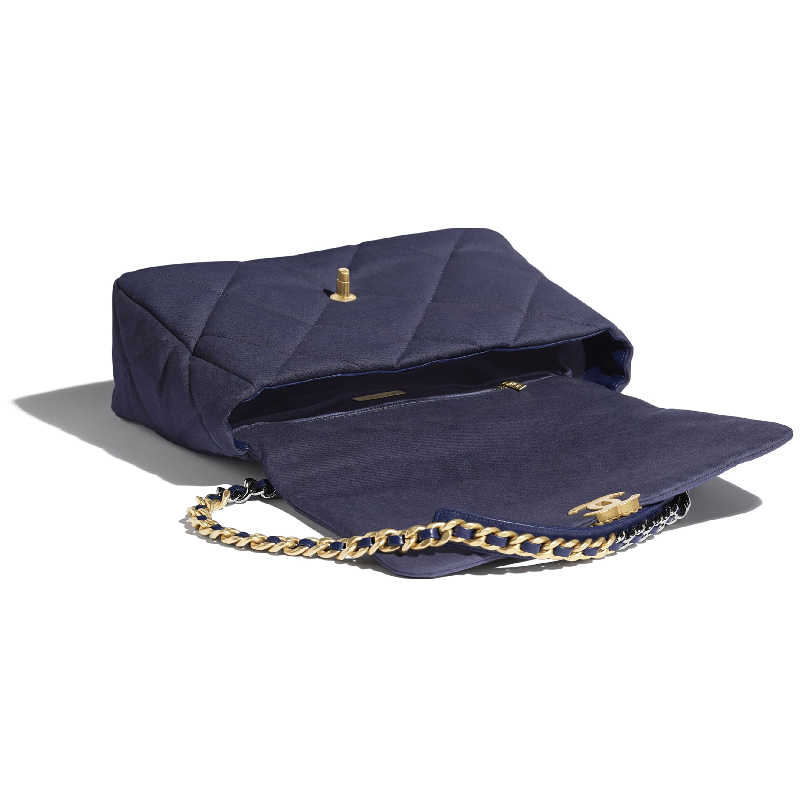 CHANEL 19 Maxi Flap Bag - Navy Blue - Cotton Canvas, Calfskin, Gold-Tone, Silver-Tone & Ruthenium-Finish Metal - Other view - see standard sized version