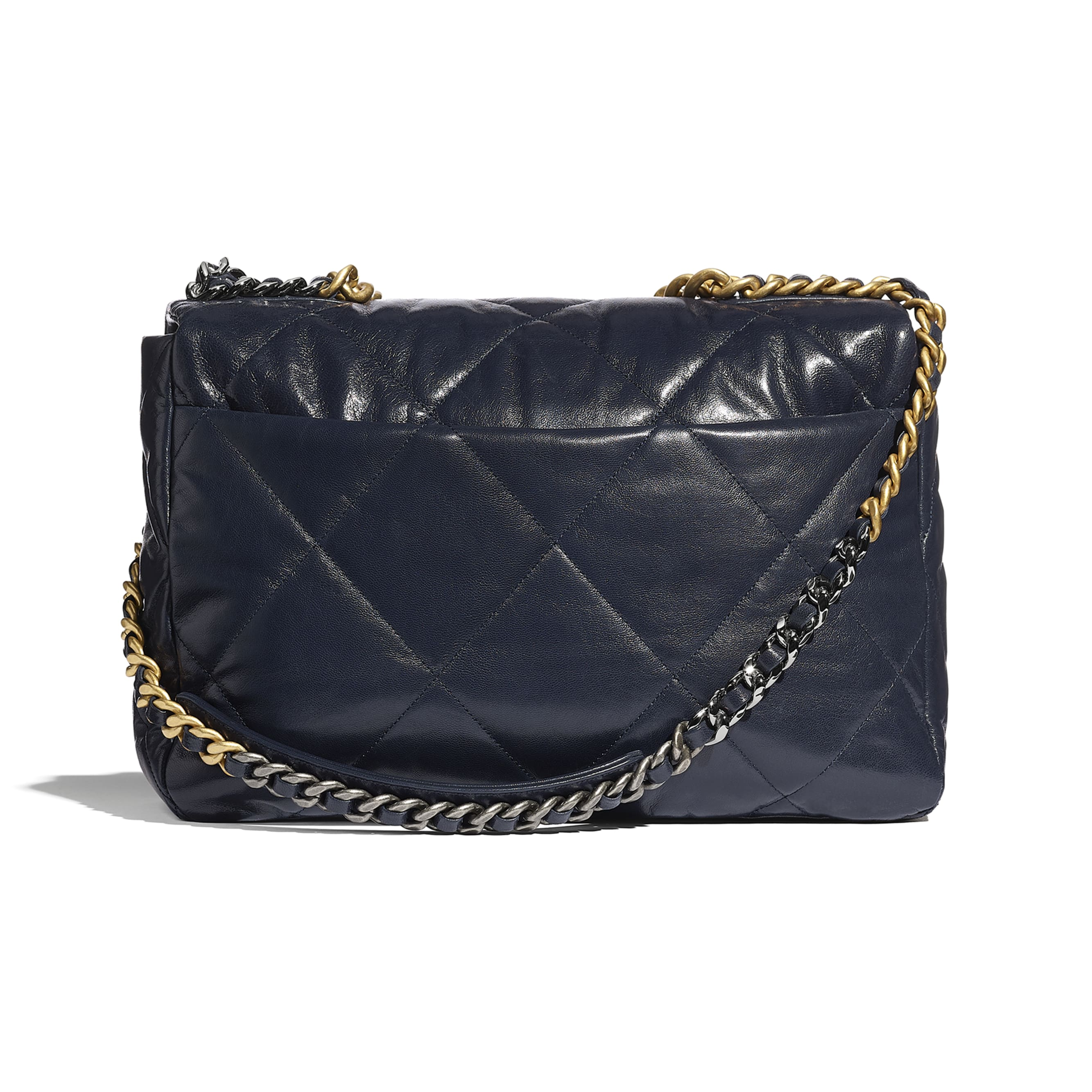 CHANEL 19 Maxi Flap Bag - Navy Blue - Goatskin, Gold-Tone, Silver-Tone & Ruthenium-Finish Metal - CHANEL - Alternative view - see standard sized version