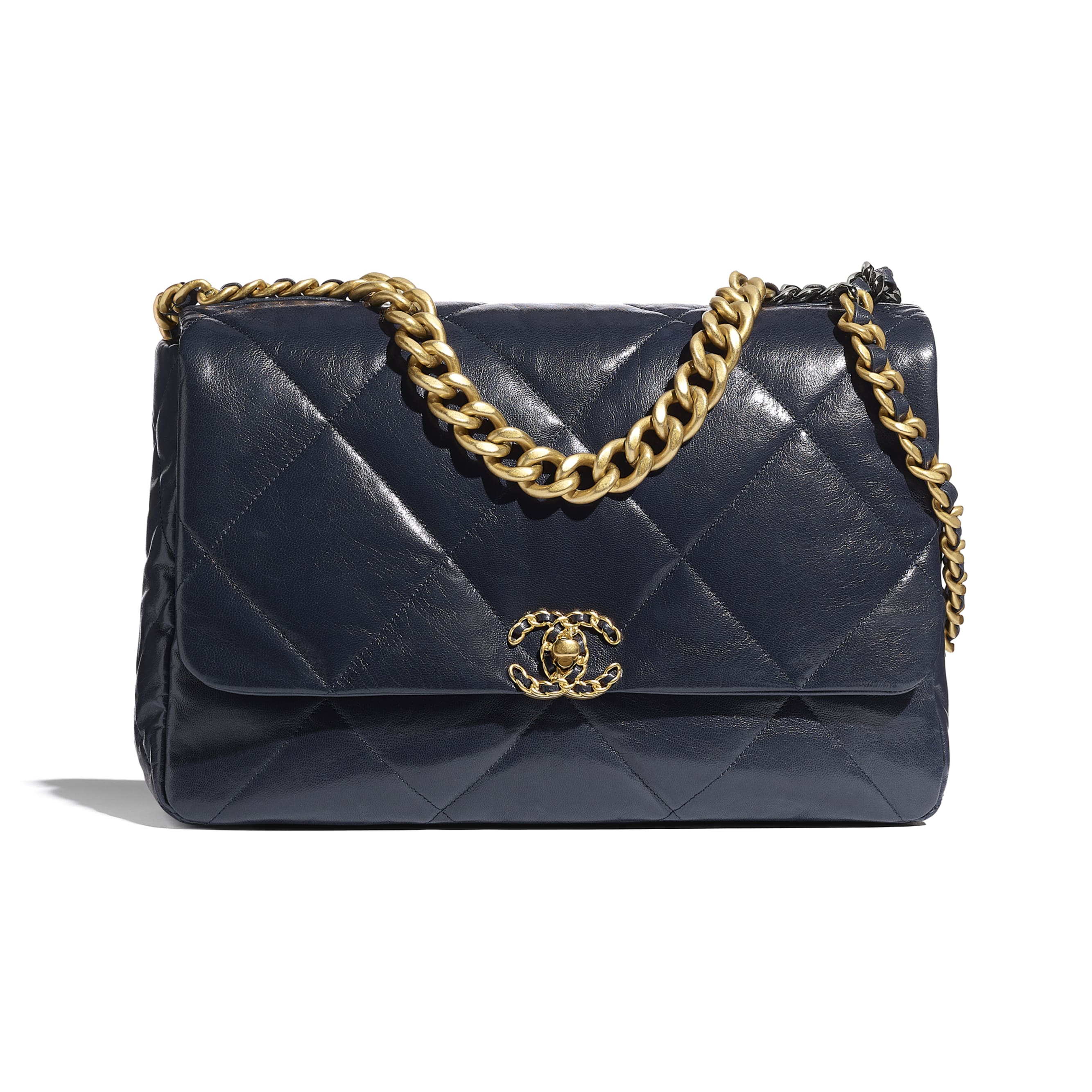 CHANEL 19 Maxi Flap Bag - Navy Blue - Goatskin, Gold-Tone, Silver-Tone & Ruthenium-Finish Metal - CHANEL - Default view - see standard sized version