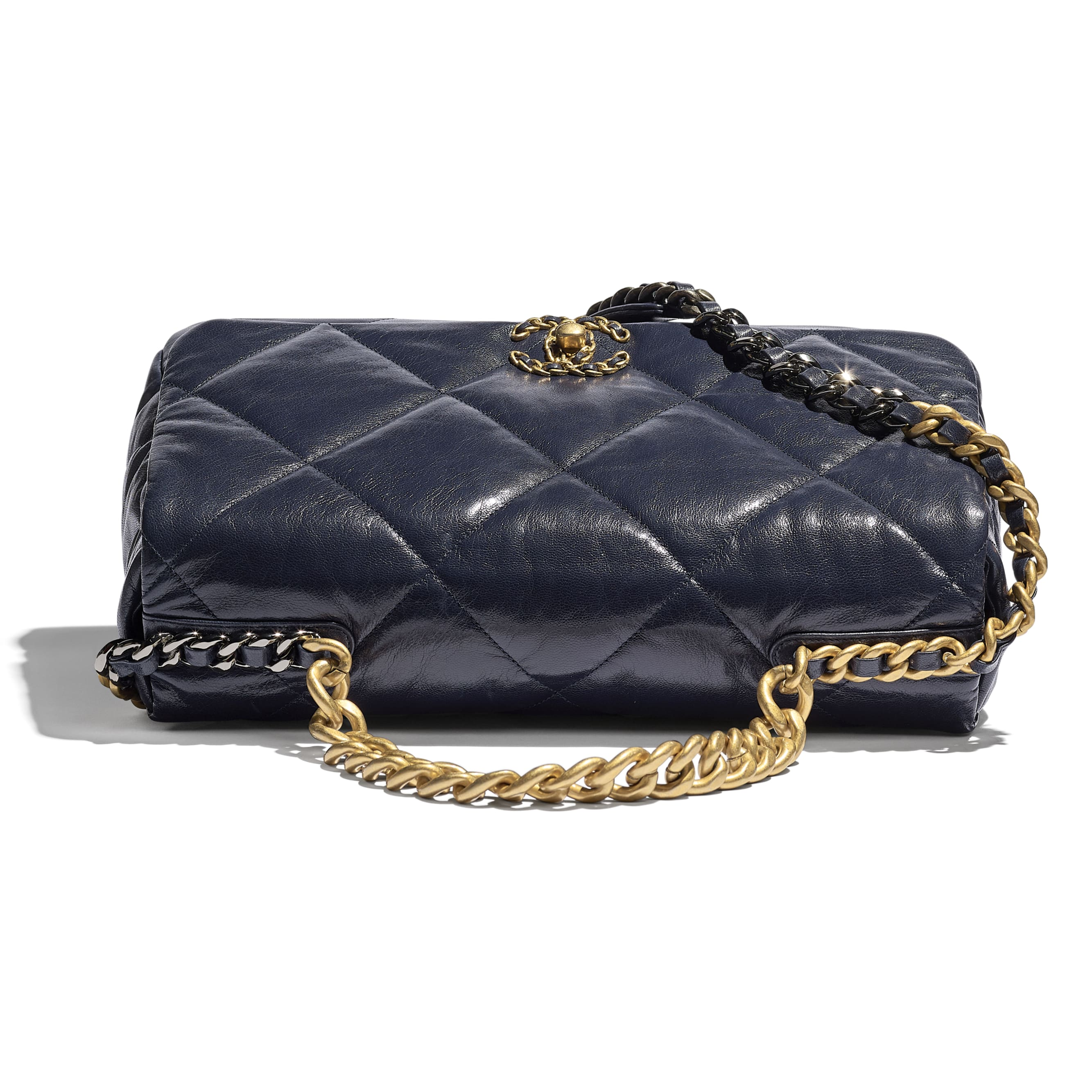 CHANEL 19 Maxi Flap Bag - Navy Blue - Goatskin, Gold-Tone, Silver-Tone & Ruthenium-Finish Metal - CHANEL - Extra view - see standard sized version