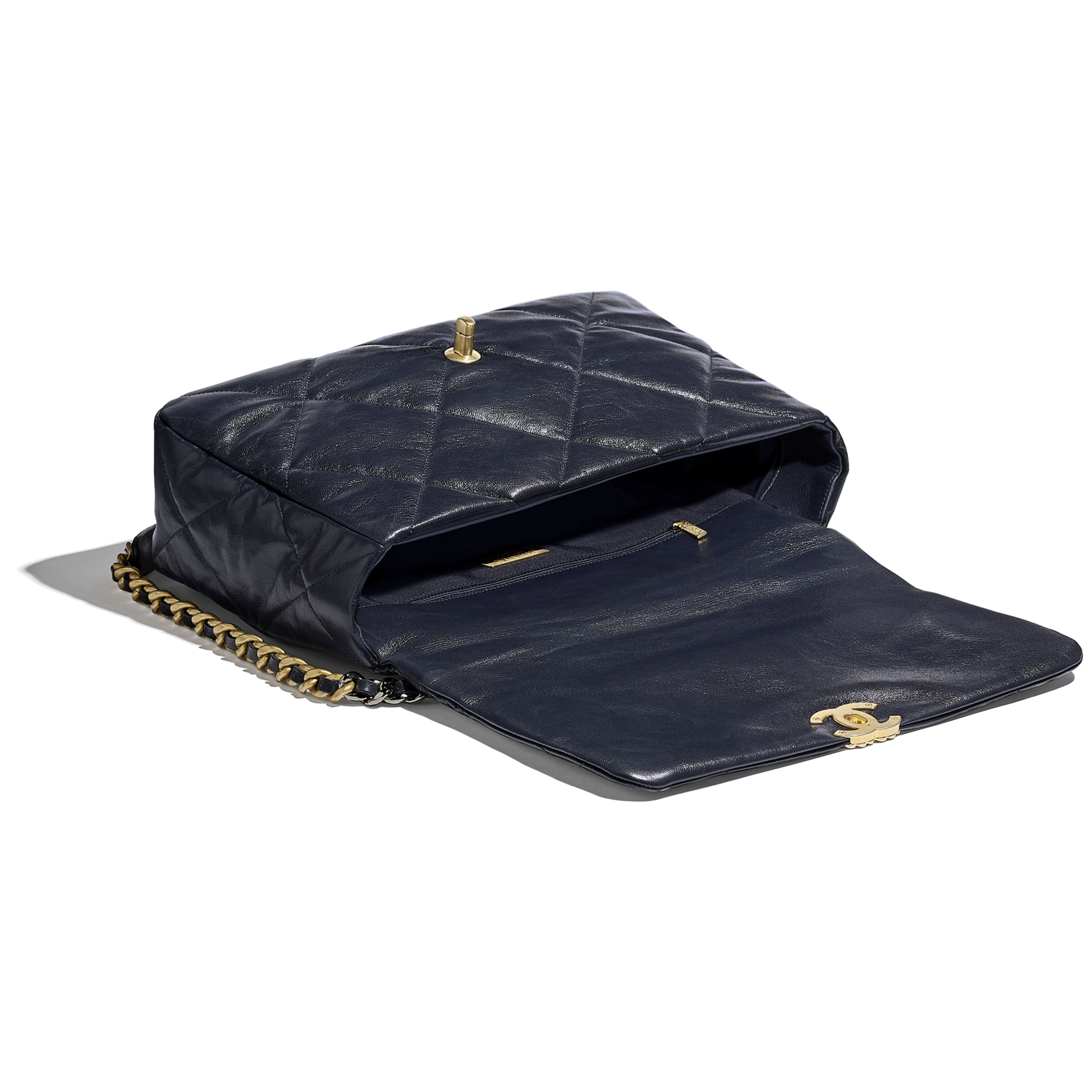 CHANEL 19 Maxi Flap Bag - Navy Blue - Goatskin, Gold-Tone, Silver-Tone & Ruthenium-Finish Metal - CHANEL - Other view - see standard sized version