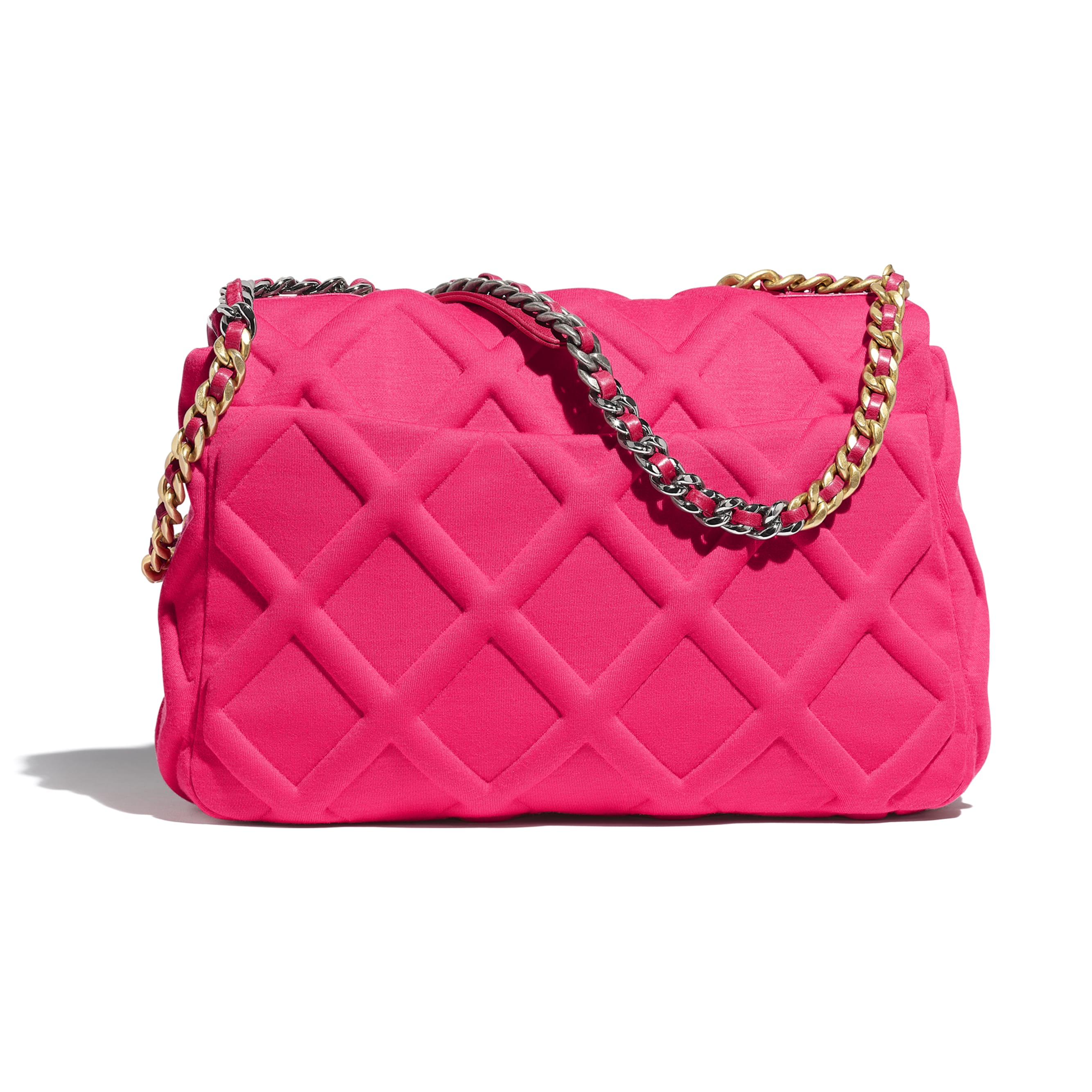 CHANEL 19 Maxi Flap Bag - Pink - Jersey, Gold-Tone, Silver-Tone & Ruthenium-Finish Metal - Alternative view - see standard sized version