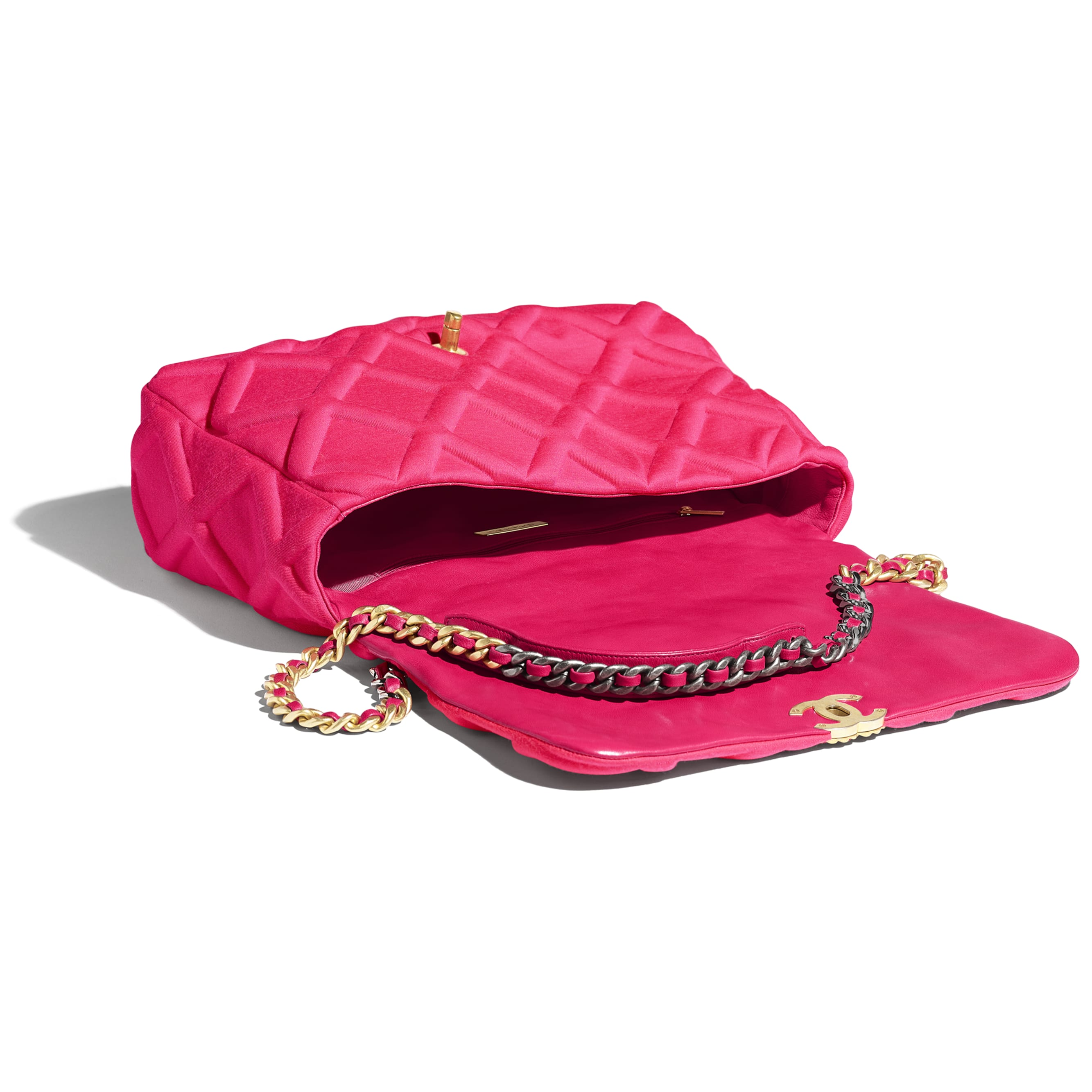CHANEL 19 Maxi Flap Bag - Pink - Jersey, Gold-Tone, Silver-Tone & Ruthenium-Finish Metal - Other view - see standard sized version