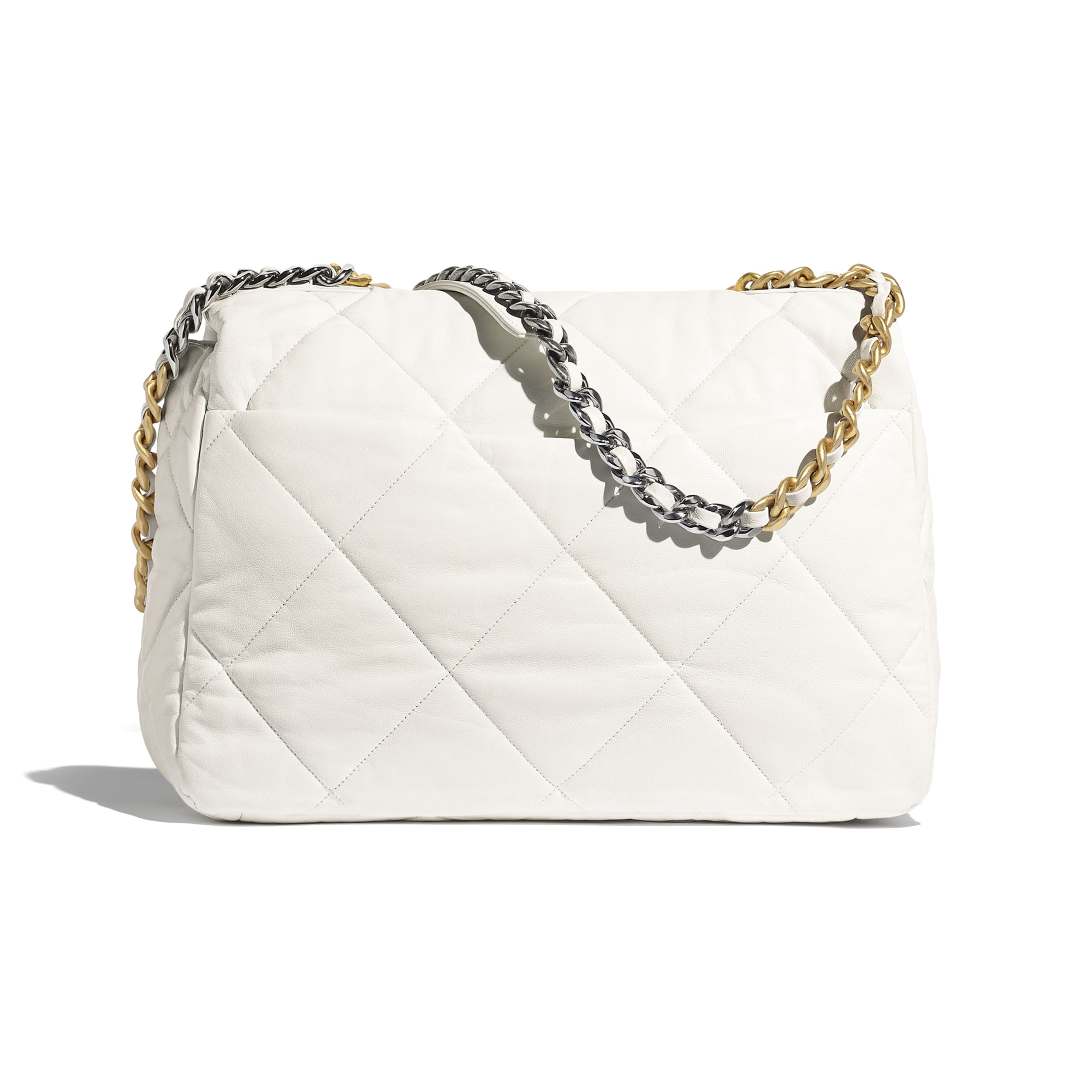 CHANEL 19 Maxi Flap Bag - White - Goatskin, Gold-Tone, Silver-Tone & Ruthenium-Finish Metal - Alternative view - see standard sized version