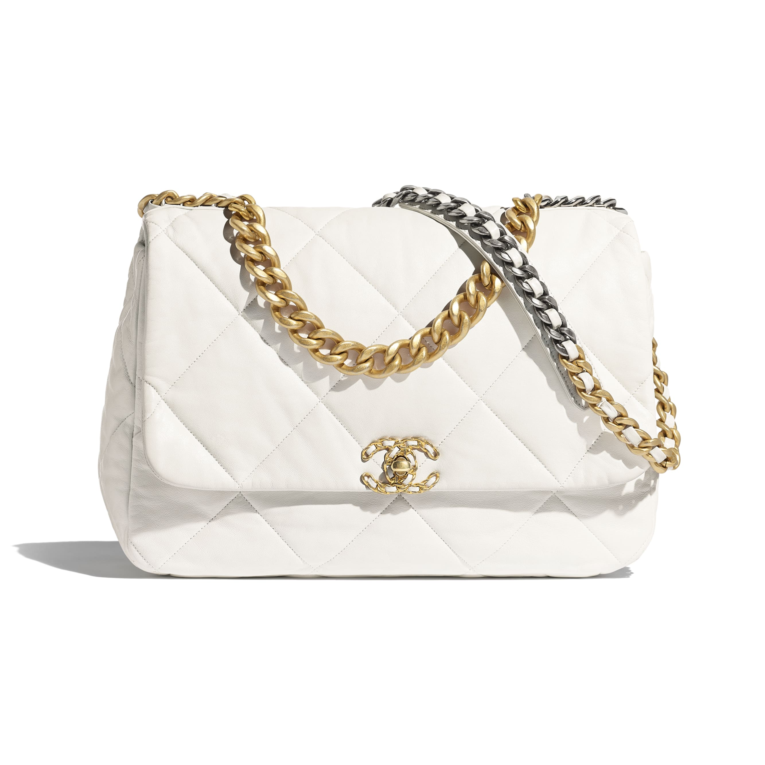 CHANEL 19 Maxi Flap Bag - White - Goatskin, Gold-Tone, Silver-Tone & Ruthenium-Finish Metal - Default view - see standard sized version