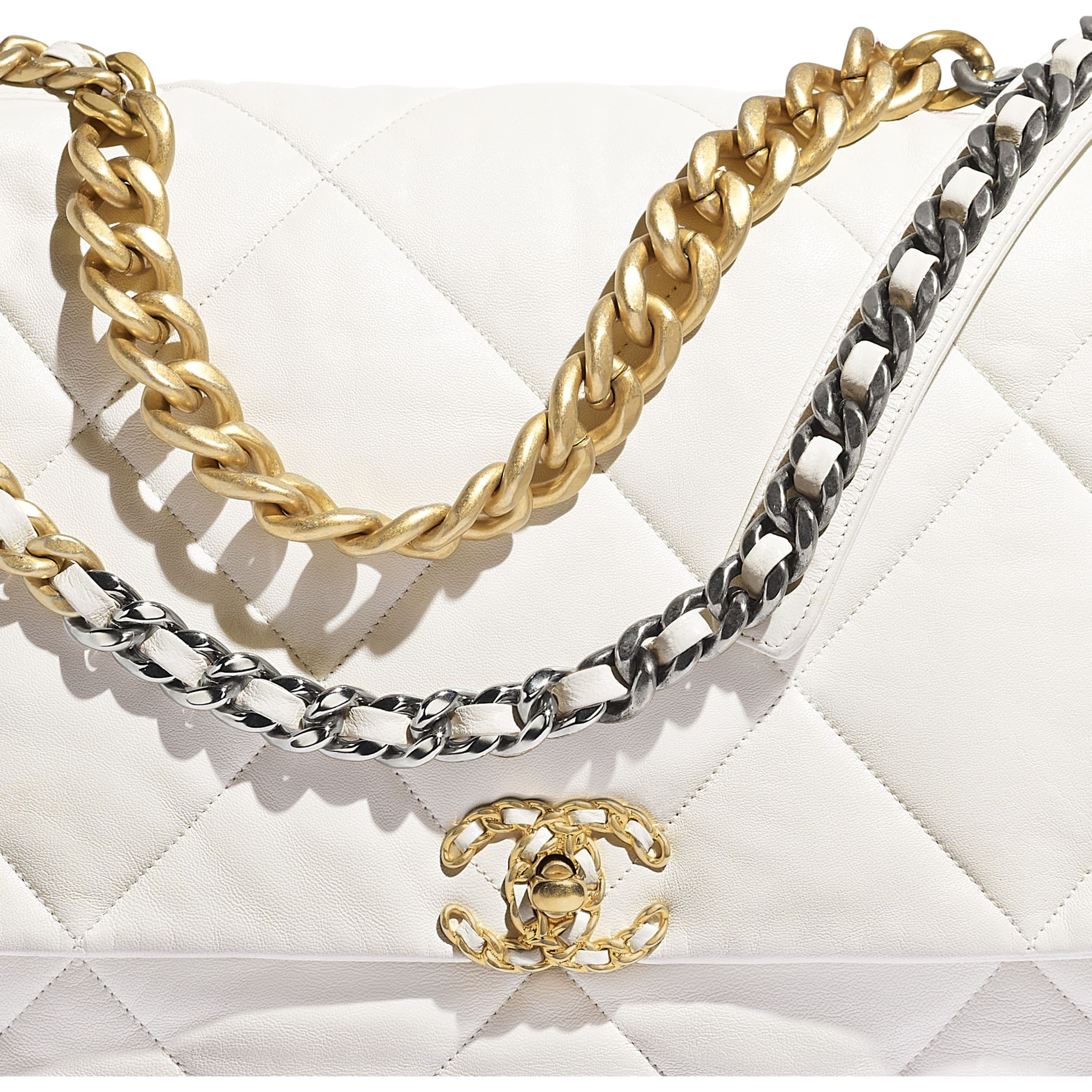 CHANEL 19 Maxi Flap Bag - White - Goatskin, Gold-Tone, Silver-Tone & Ruthenium-Finish Metal - Extra view - see standard sized version