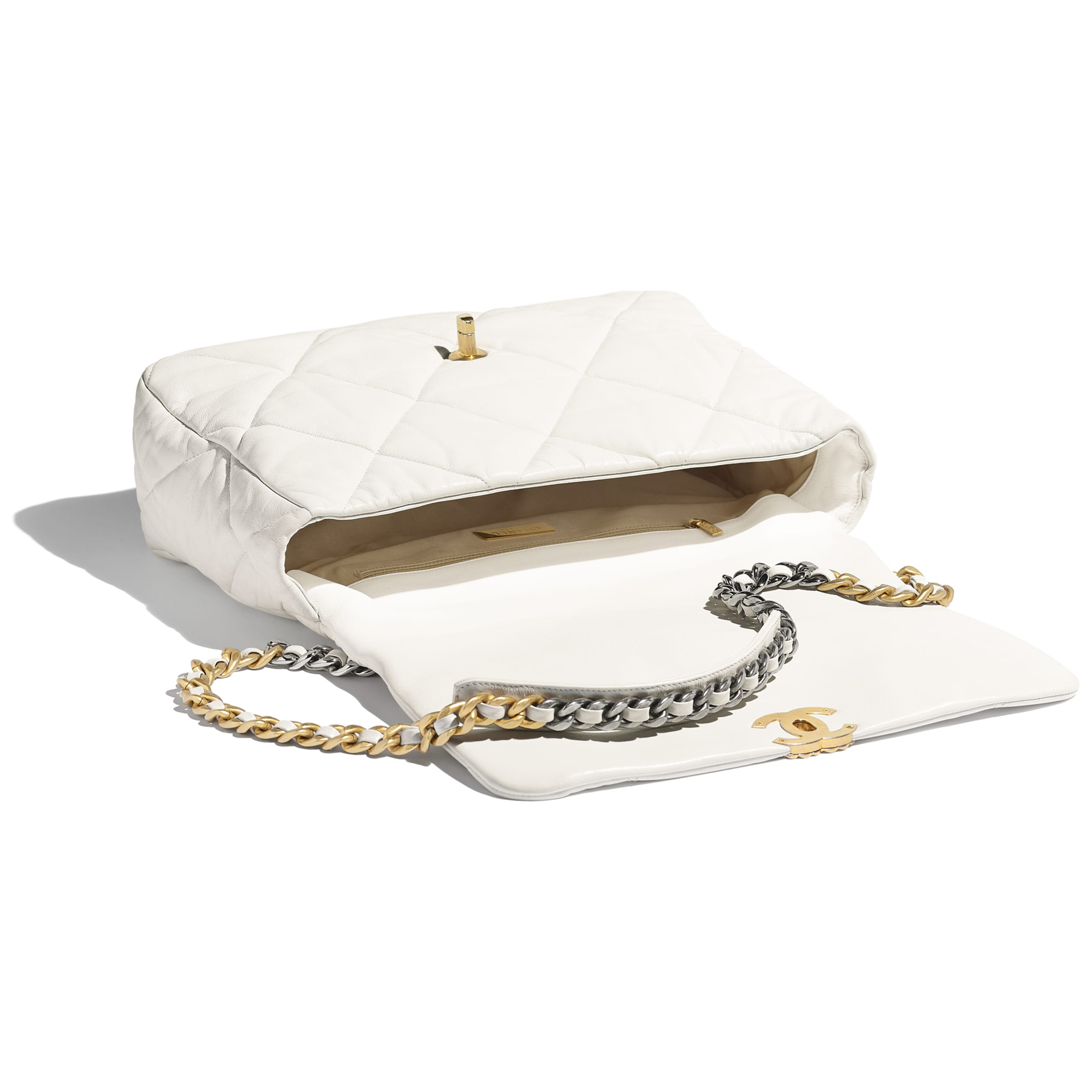 CHANEL 19 Maxi Flap Bag - White - Goatskin, Gold-Tone, Silver-Tone & Ruthenium-Finish Metal - Other view - see standard sized version