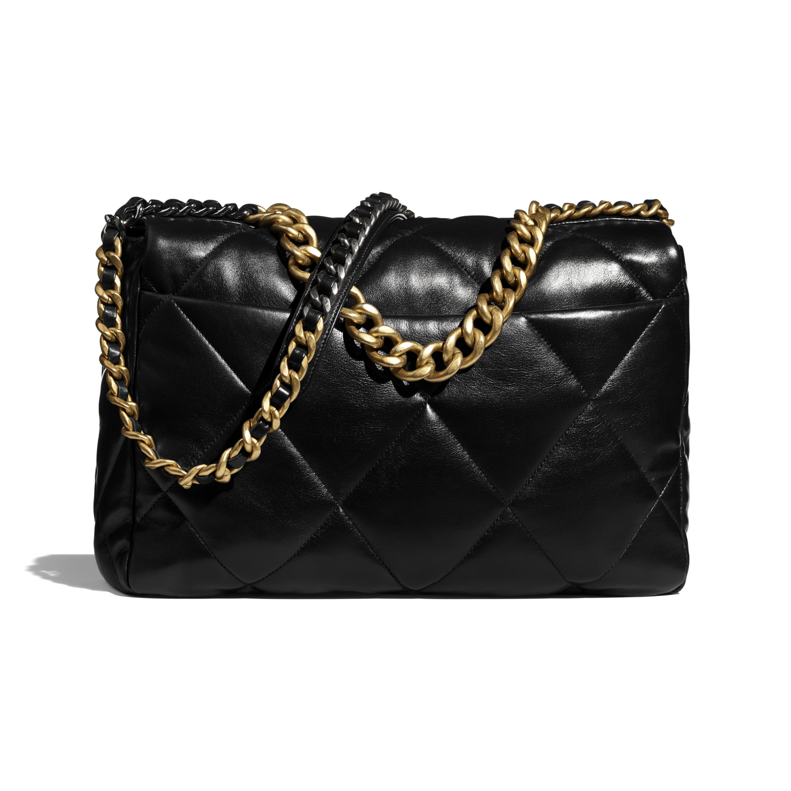 CHANEL 19 Maxi Handbag - Black - Lambskin, Gold-Tone, Silver-Tone & Ruthenium-Finish Metal - CHANEL - Alternative view - see standard sized version