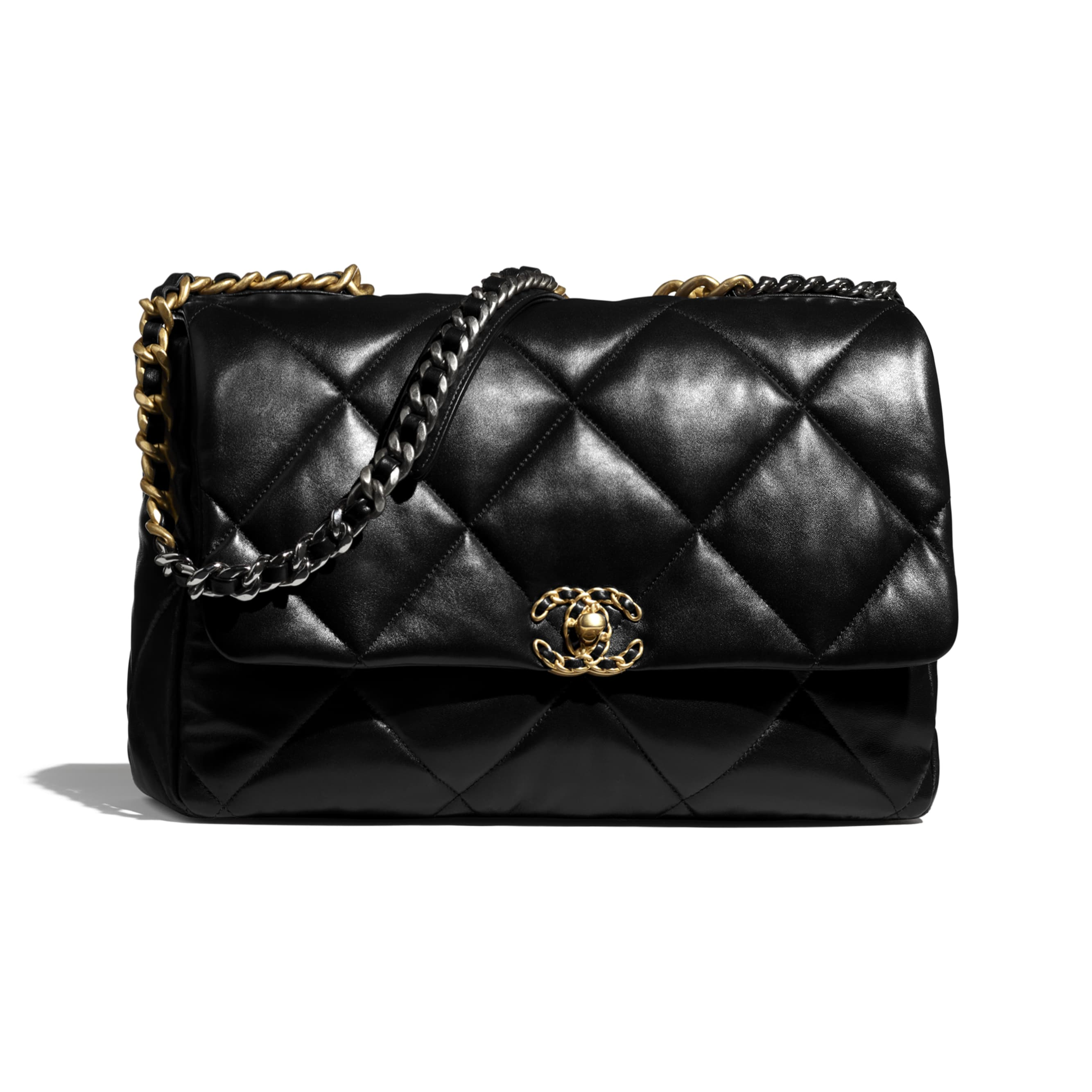 CHANEL 19 Maxi Handbag - Black - Lambskin, Gold-Tone, Silver-Tone & Ruthenium-Finish Metal - CHANEL - Default view - see standard sized version
