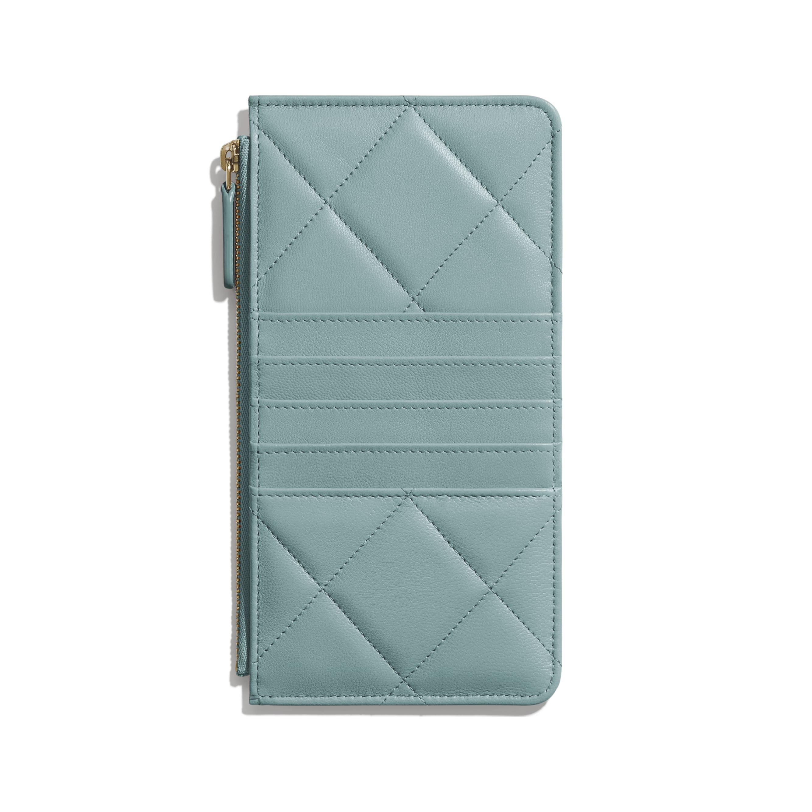 กระเป๋าใส่โทรศัพท์มือถือและบัตร CHANEL 19 - สีฟ้า - หนังแพะเคลือบเงา สีทอง สีเงิน และโลหะเคลือบรูทีเนียม - มุมมองทางอื่น - ดูเวอร์ชันขนาดมาตรฐาน