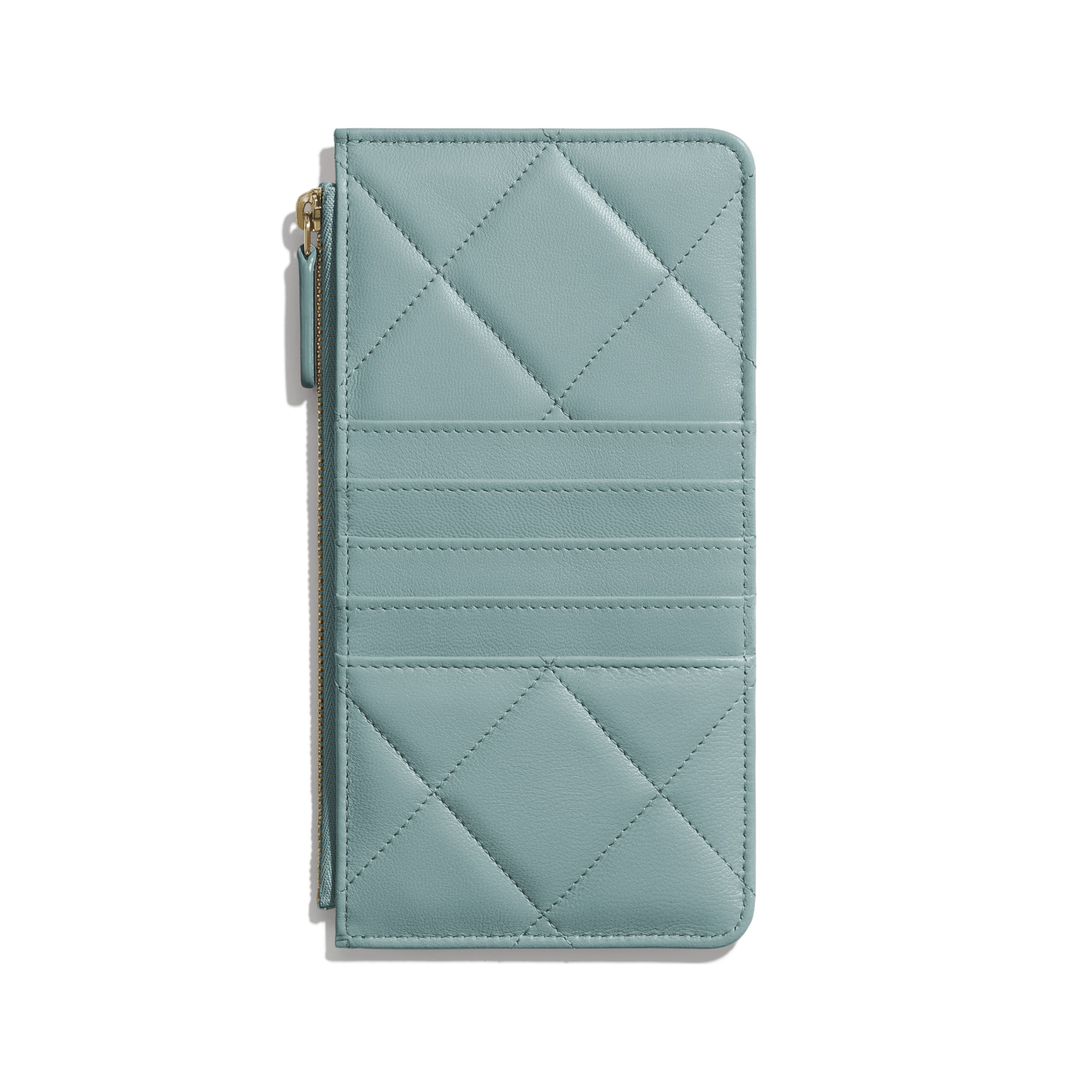CHANEL 19 Phone & Card Holder - Blue - Shiny Goatskin, Gold-Tone, Silver-Tone & Ruthenium-Finish Metal - Alternative view - see standard sized version