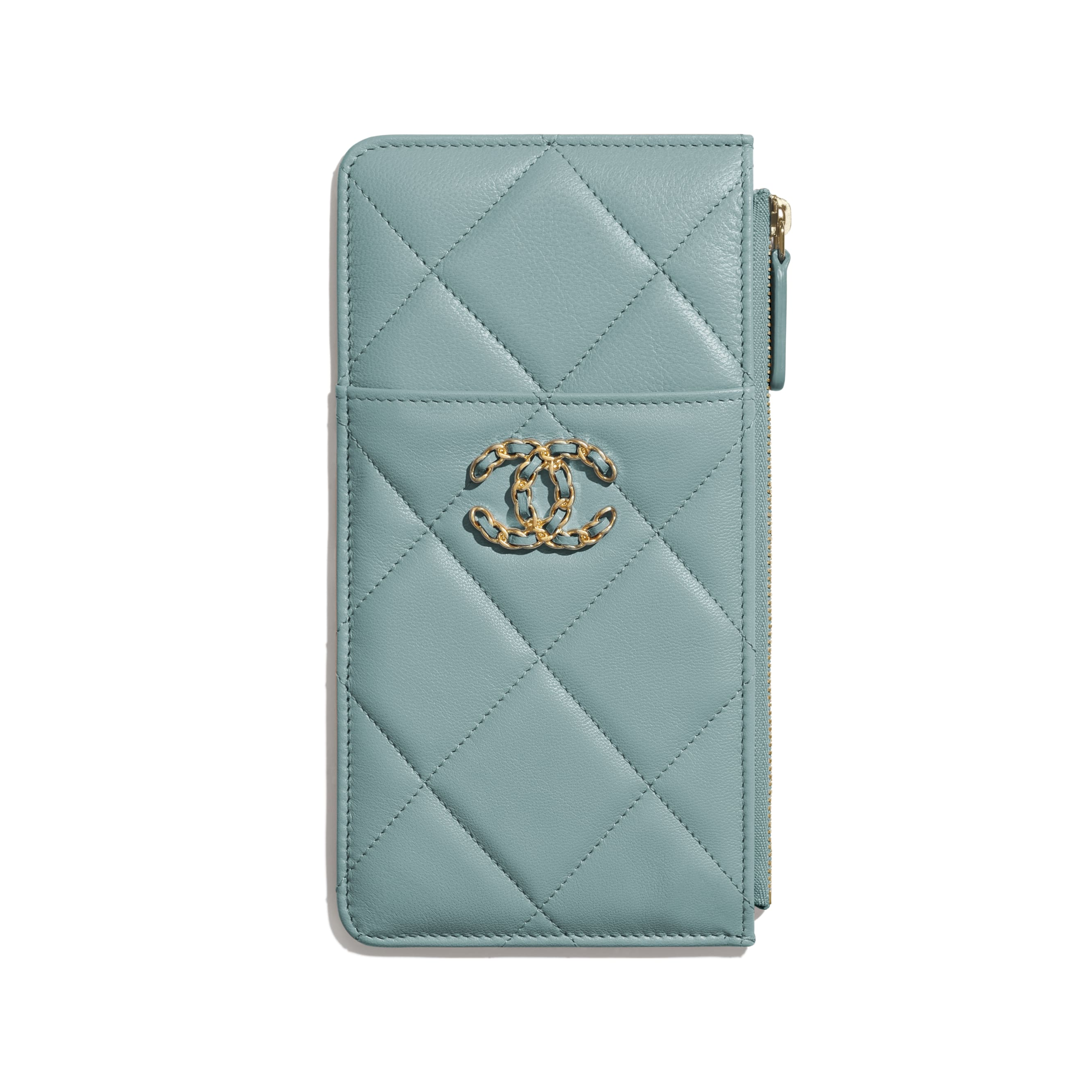 CHANEL 19 Phone & Card Holder - Blue - Shiny Goatskin, Gold-Tone, Silver-Tone & Ruthenium-Finish Metal - Default view - see standard sized version