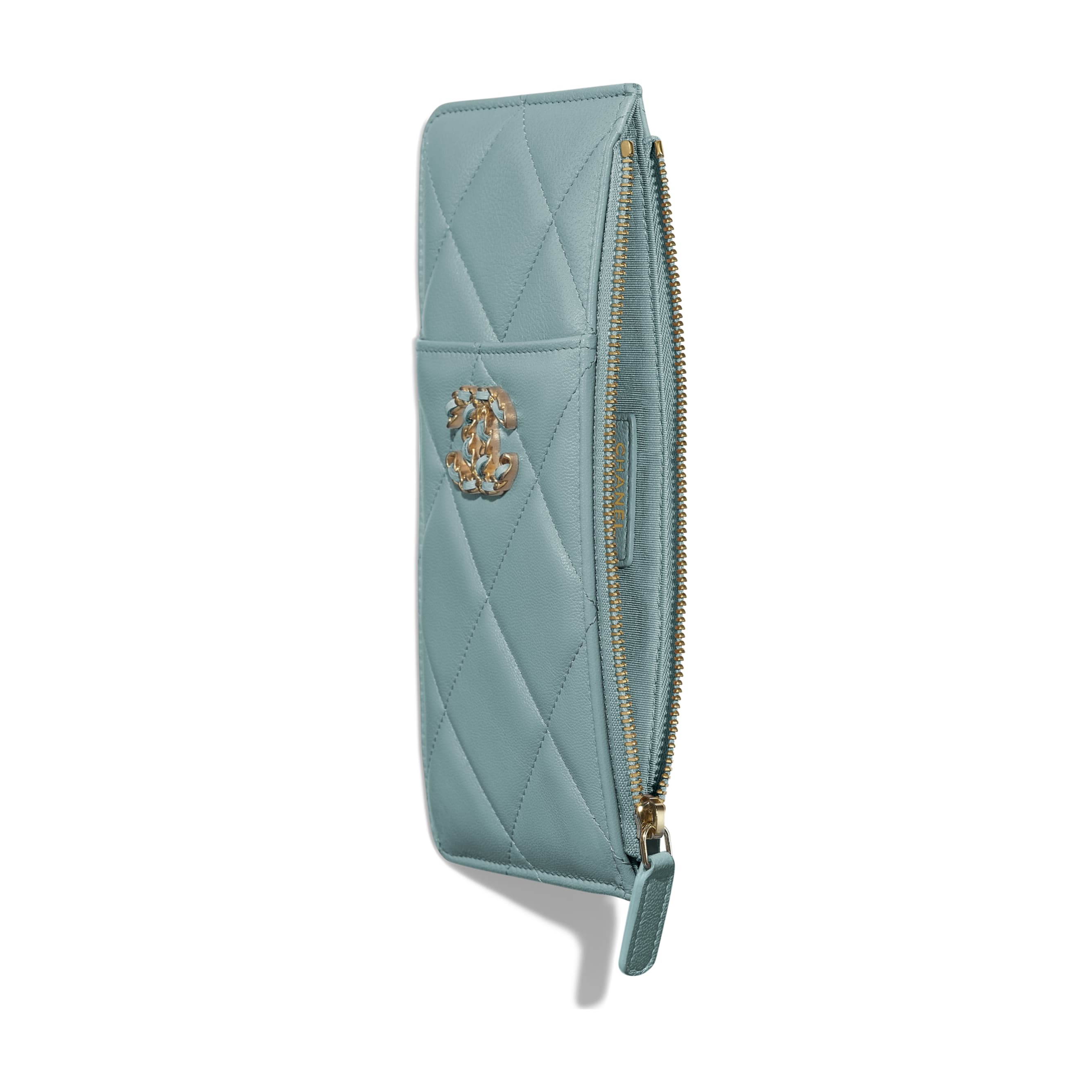 CHANEL 19 Phone & Card Holder - Blue - Shiny Goatskin, Gold-Tone, Silver-Tone & Ruthenium-Finish Metal - Other view - see standard sized version