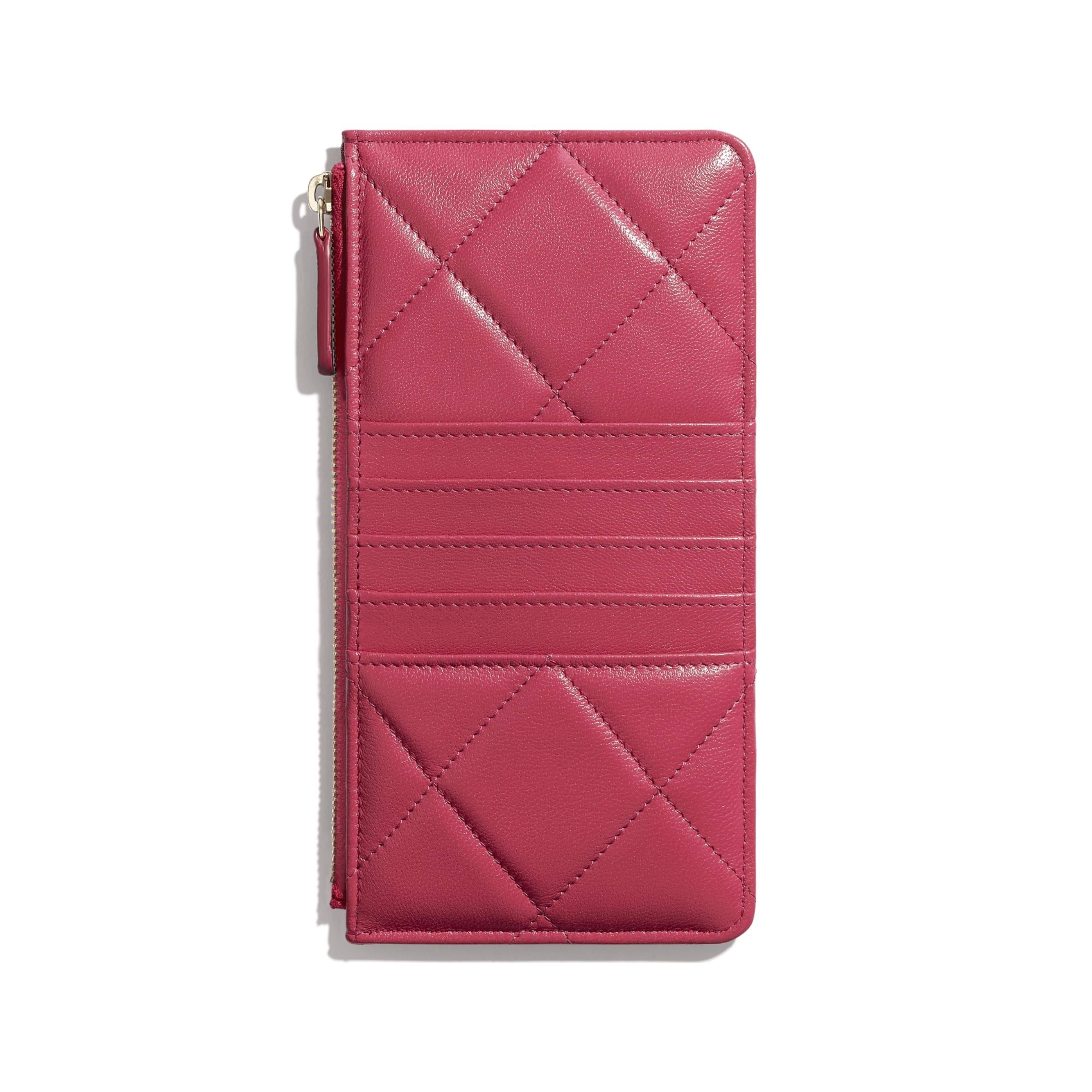 CHANEL 19 Phone & Card Holder - Dark Pink - Lambskin, Gold-Tone, Silver-Tone & Ruthenium-Finish Metal - Alternative view - see standard sized version