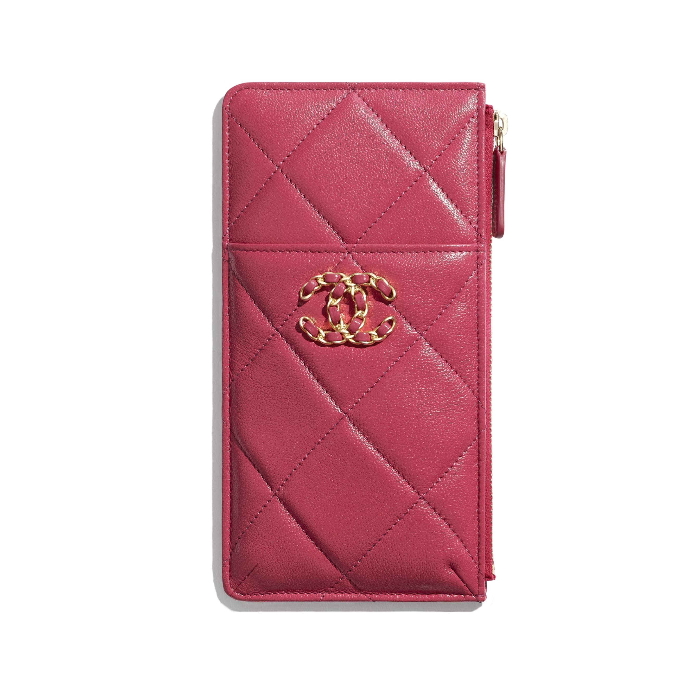 CHANEL 19 Phone & Card Holder - Dark Pink - Lambskin, Gold-Tone, Silver-Tone & Ruthenium-Finish Metal - CHANEL - Default view - see standard sized version