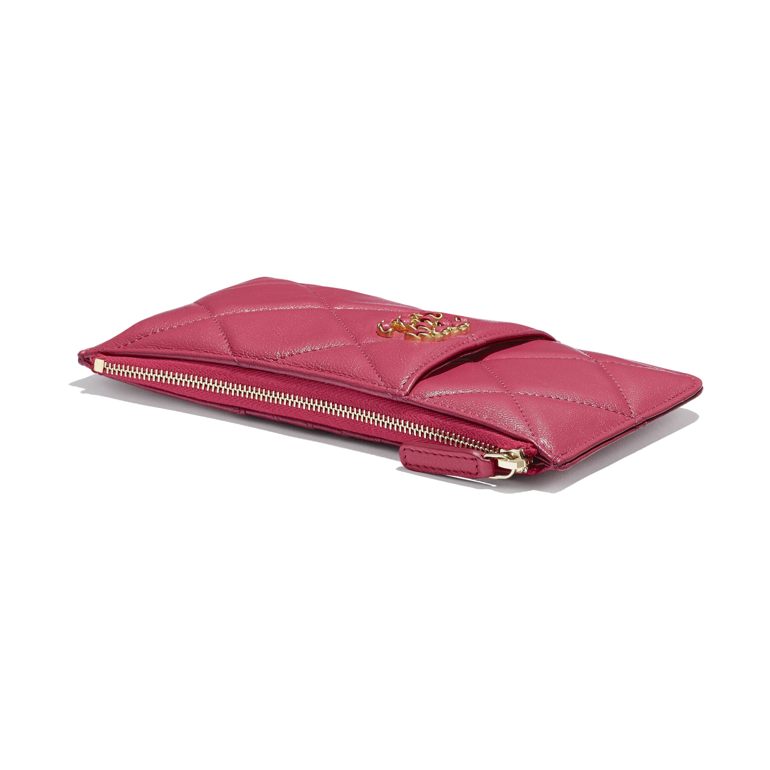 CHANEL 19 Phone & Card Holder - Dark Pink - Lambskin, Gold-Tone, Silver-Tone & Ruthenium-Finish Metal - CHANEL - Extra view - see standard sized version
