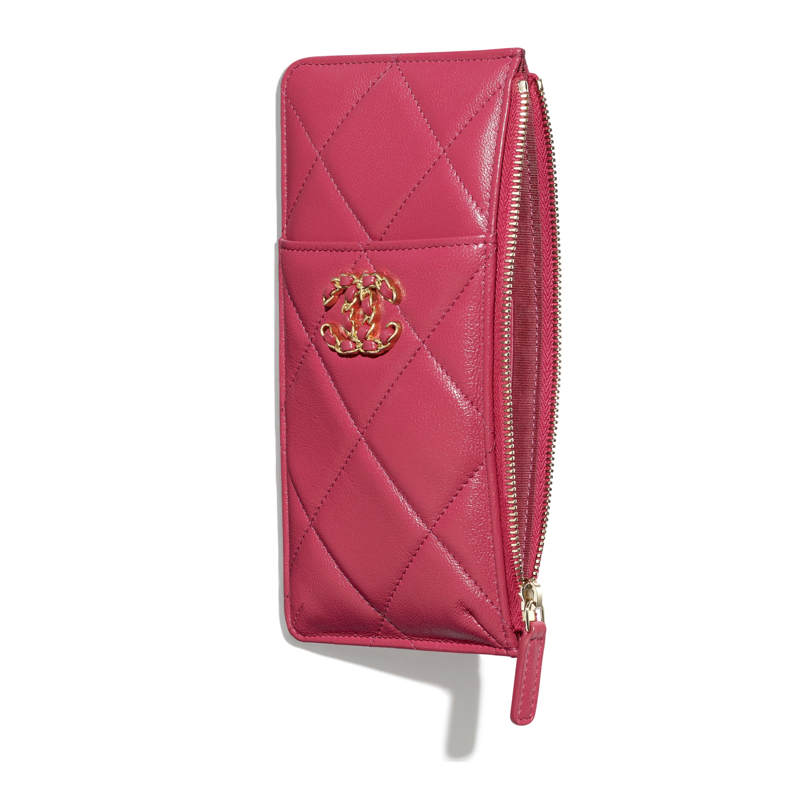 CHANEL 19 Phone & Card Holder - Dark Pink - Lambskin, Gold-Tone, Silver-Tone & Ruthenium-Finish Metal - CHANEL - Other view - see standard sized version