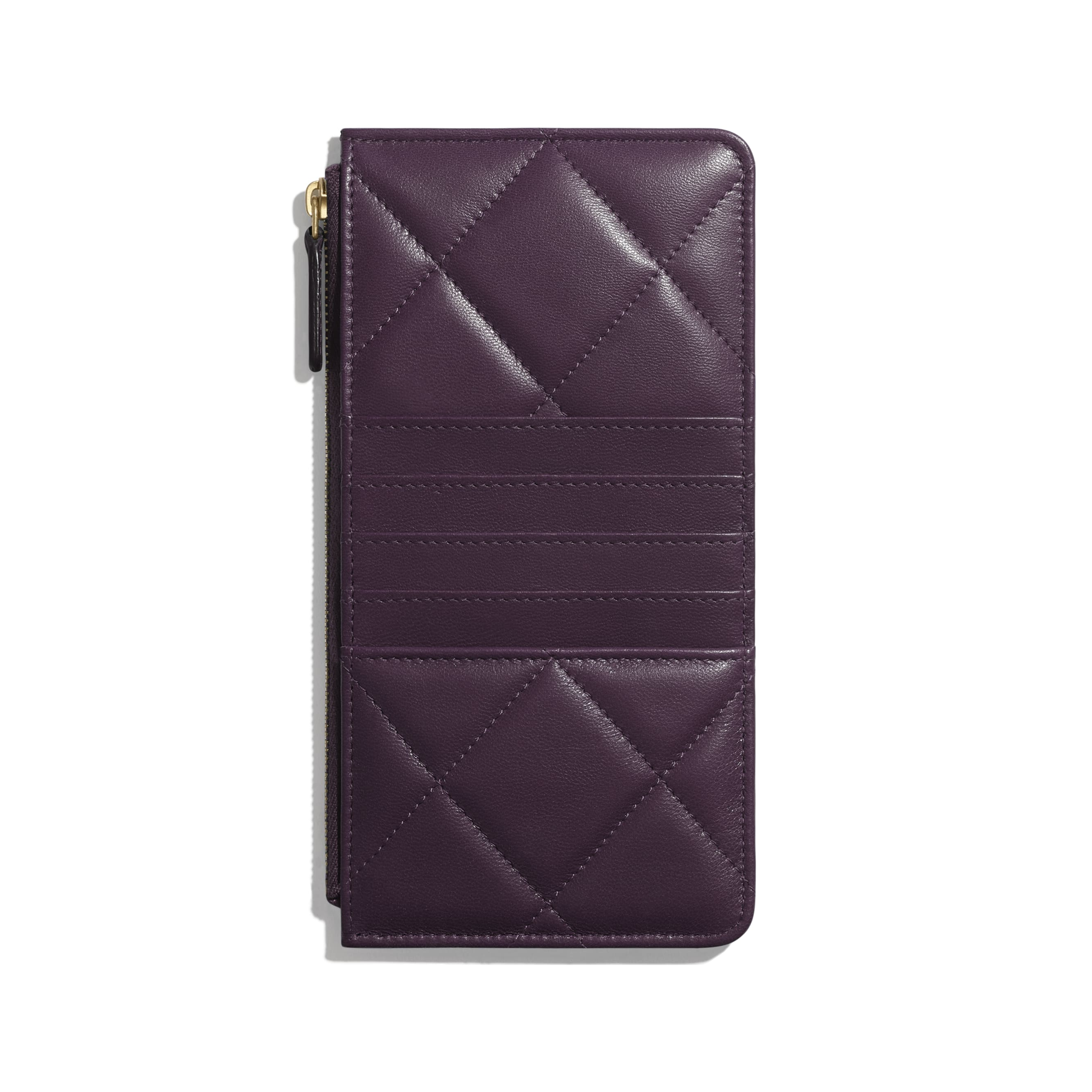 CHANEL 19 Phone & Card Holder - Purple - Shiny Goatskin & Gold-Tone Metal - CHANEL - Alternative view - see standard sized version