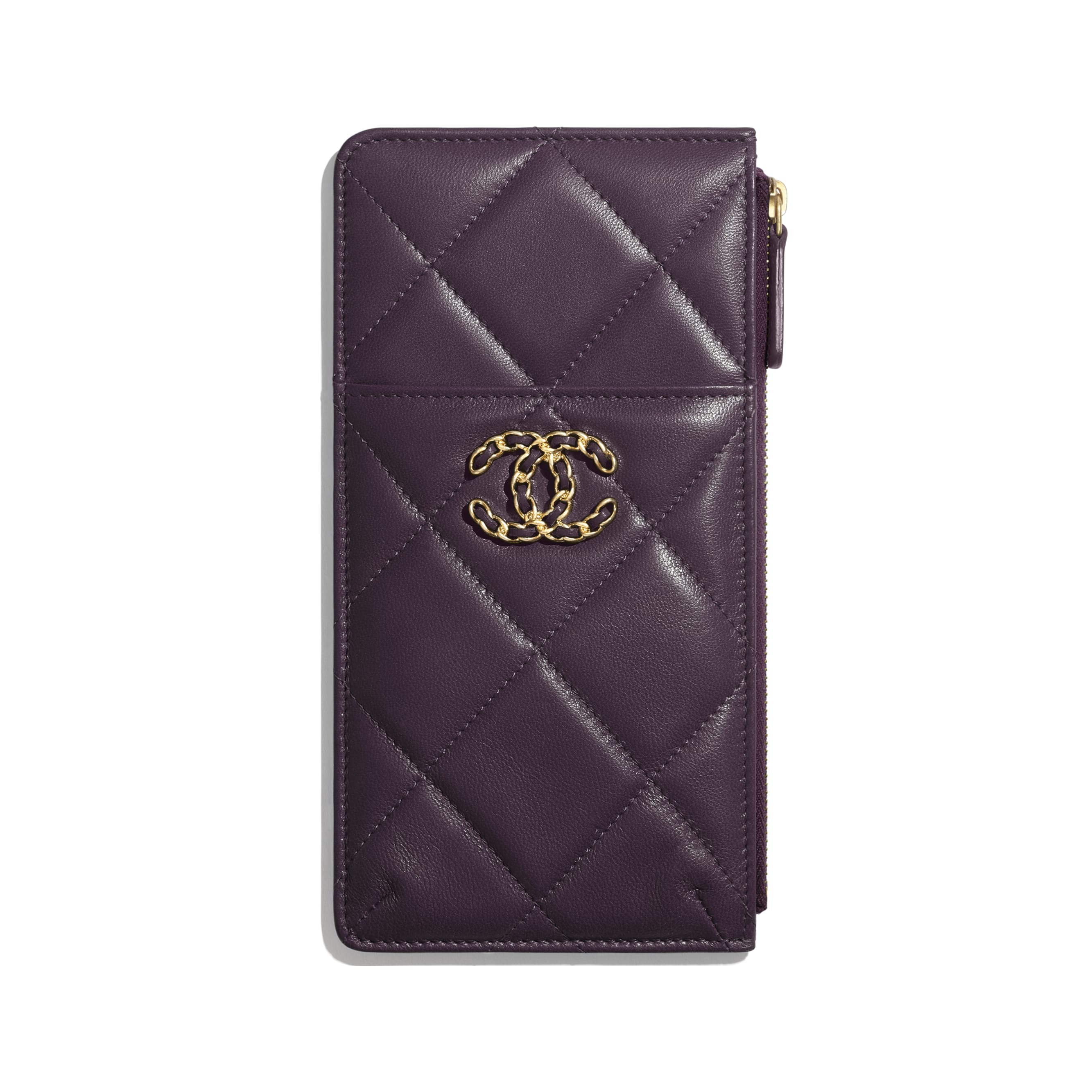 CHANEL 19 Phone & Card Holder - Purple - Shiny Goatskin & Gold-Tone Metal - CHANEL - Default view - see standard sized version