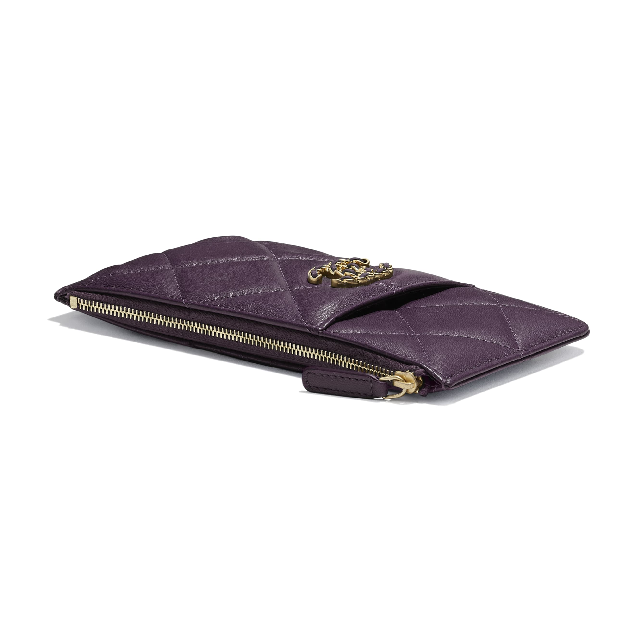 CHANEL 19 Phone & Card Holder - Purple - Shiny Goatskin & Gold-Tone Metal - CHANEL - Extra view - see standard sized version
