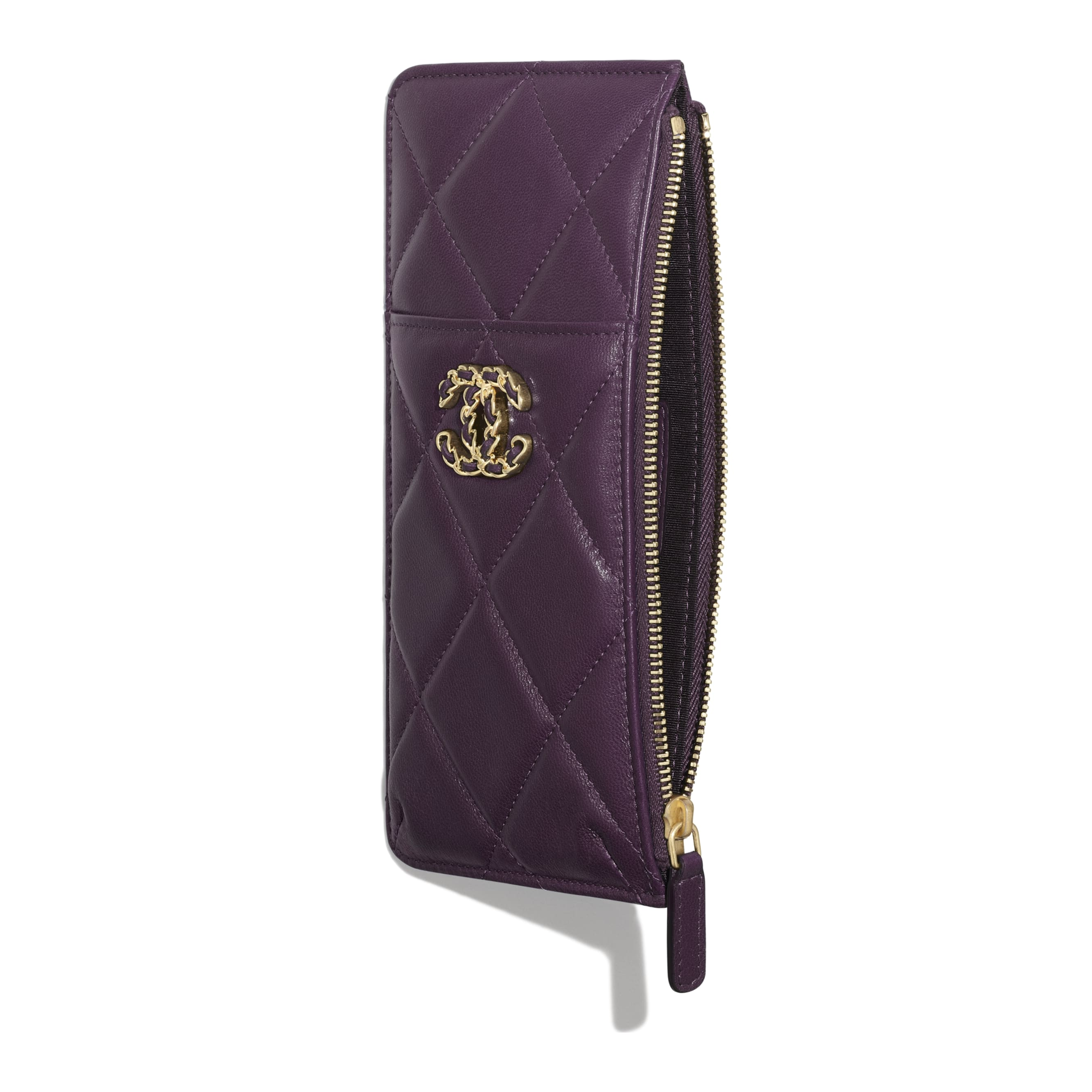 CHANEL 19 Phone & Card Holder - Purple - Shiny Goatskin & Gold-Tone Metal - CHANEL - Other view - see standard sized version