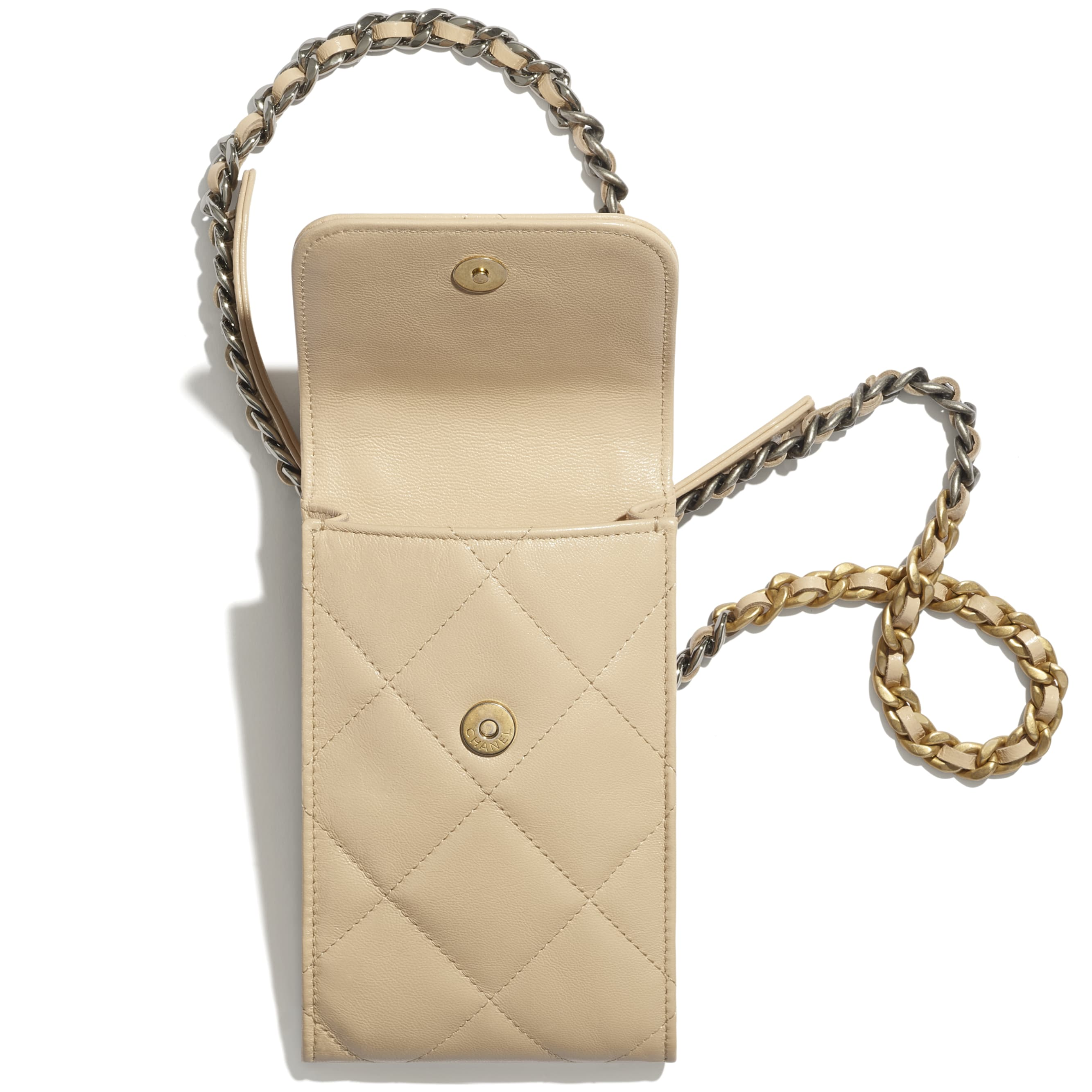 CHANEL 19 Phone Holder with Chain - Beige - Shiny Goatskin, Gold-Tone, Silver-Tone & Ruthenium-Finish Metal - CHANEL - Alternative view - see standard sized version