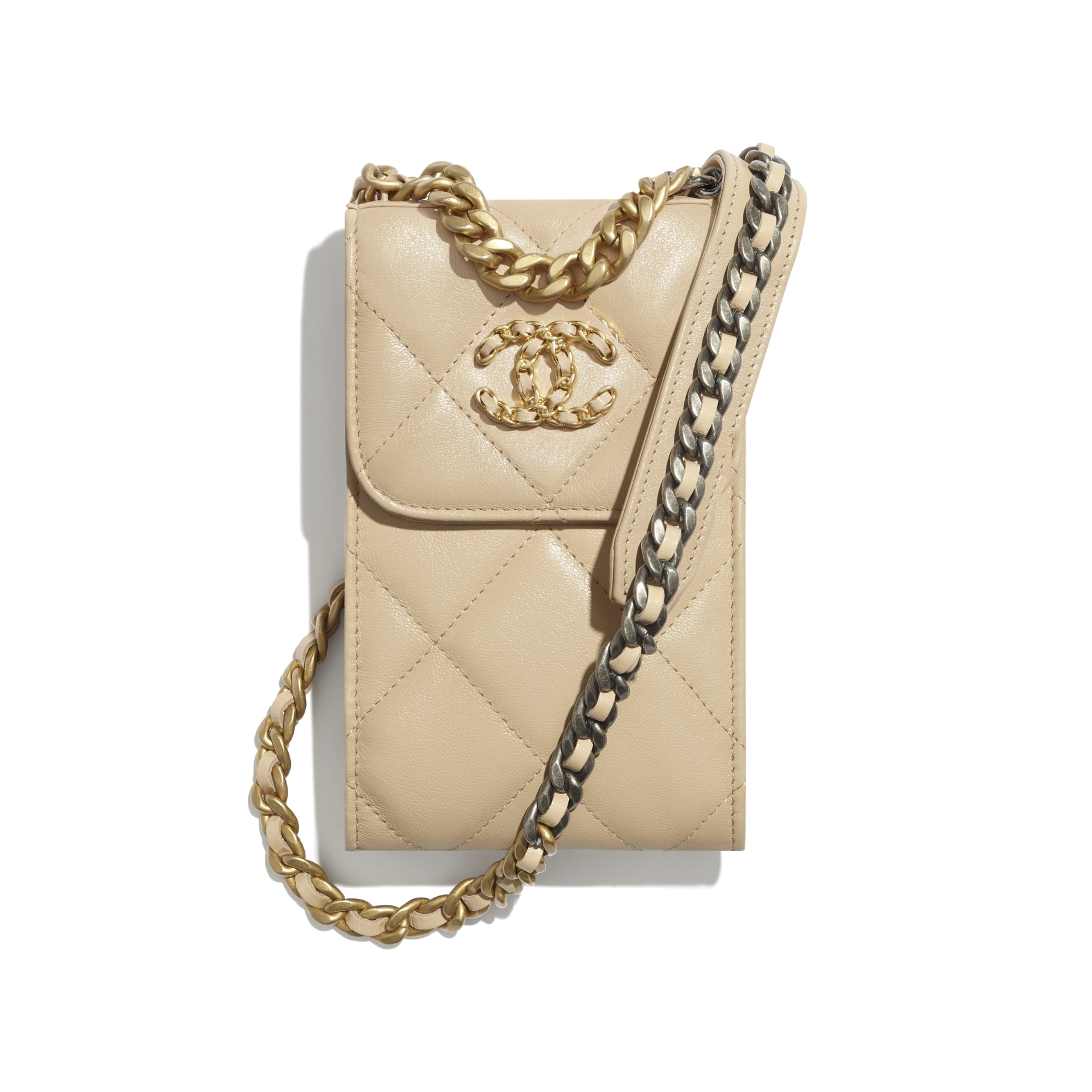 CHANEL 19 Phone Holder with Chain - Beige - Shiny Goatskin, Gold-Tone, Silver-Tone & Ruthenium-Finish Metal - CHANEL - Default view - see standard sized version