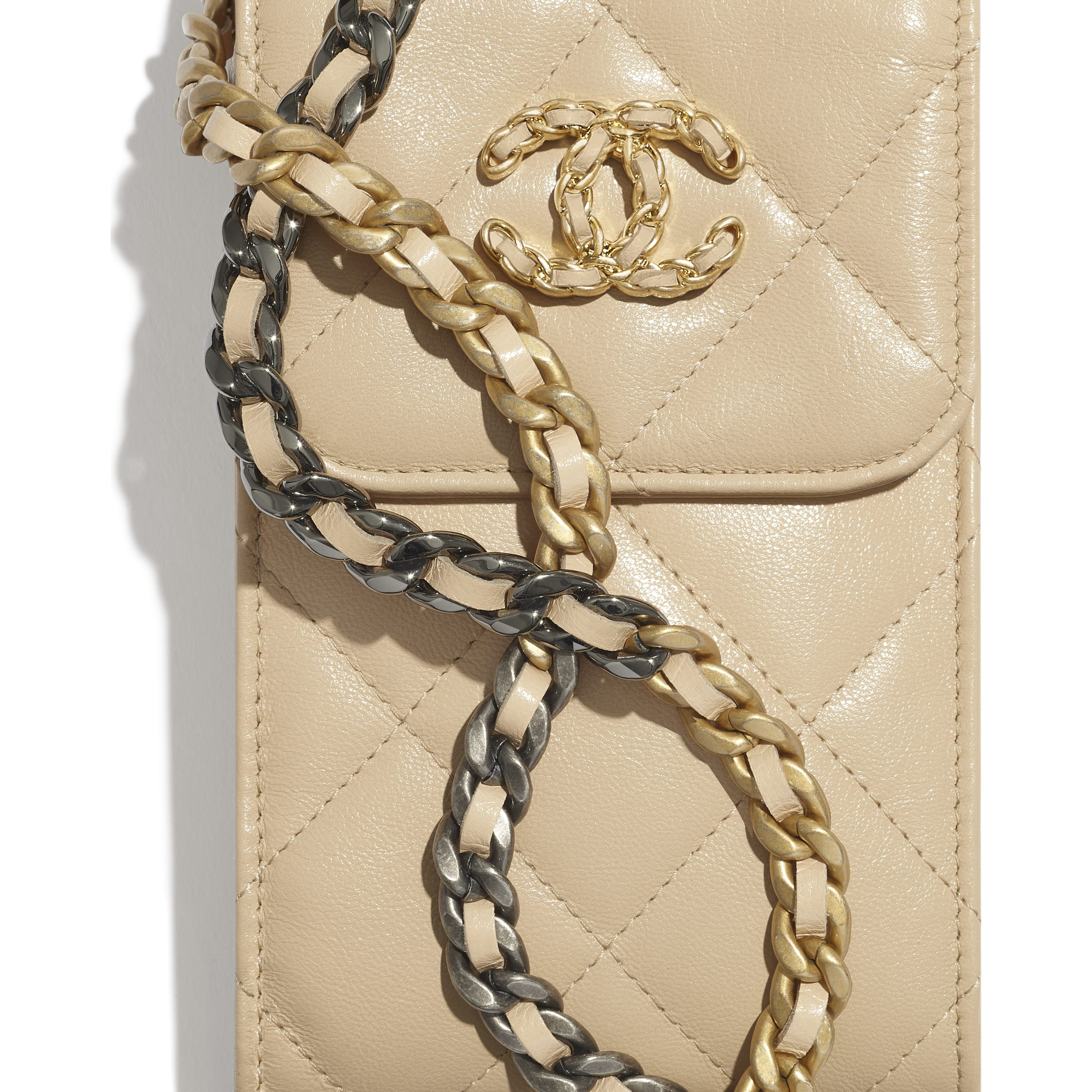 CHANEL 19 Phone Holder with Chain - Beige - Shiny Goatskin, Gold-Tone, Silver-Tone & Ruthenium-Finish Metal - CHANEL - Extra view - see standard sized version