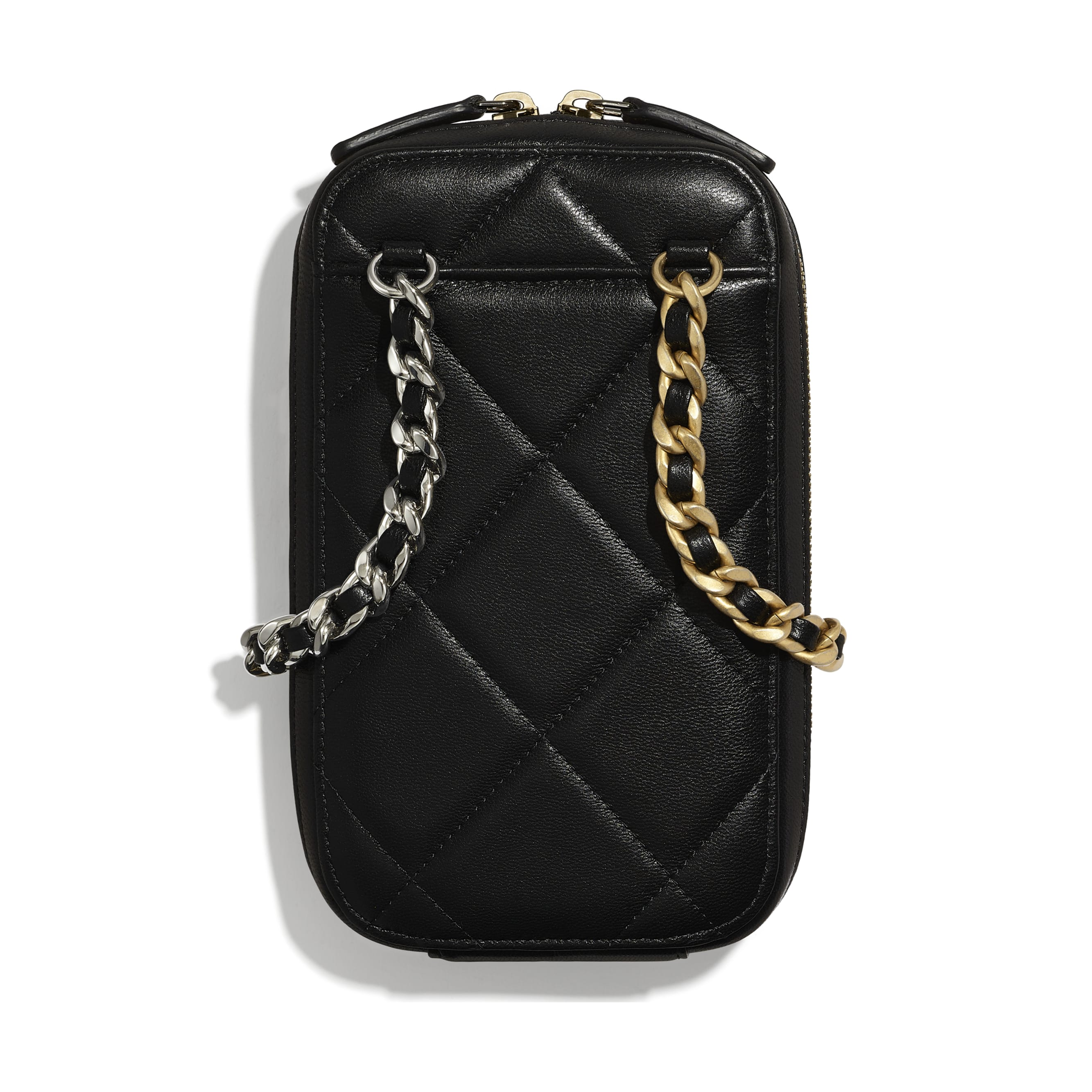 CHANEL 19 Phone Holder with Chain - Black - Shiny Goatskin, Gold-Tone, Silver-Tone & Ruthenium-Finish Metal - CHANEL - Alternative view - see standard sized version