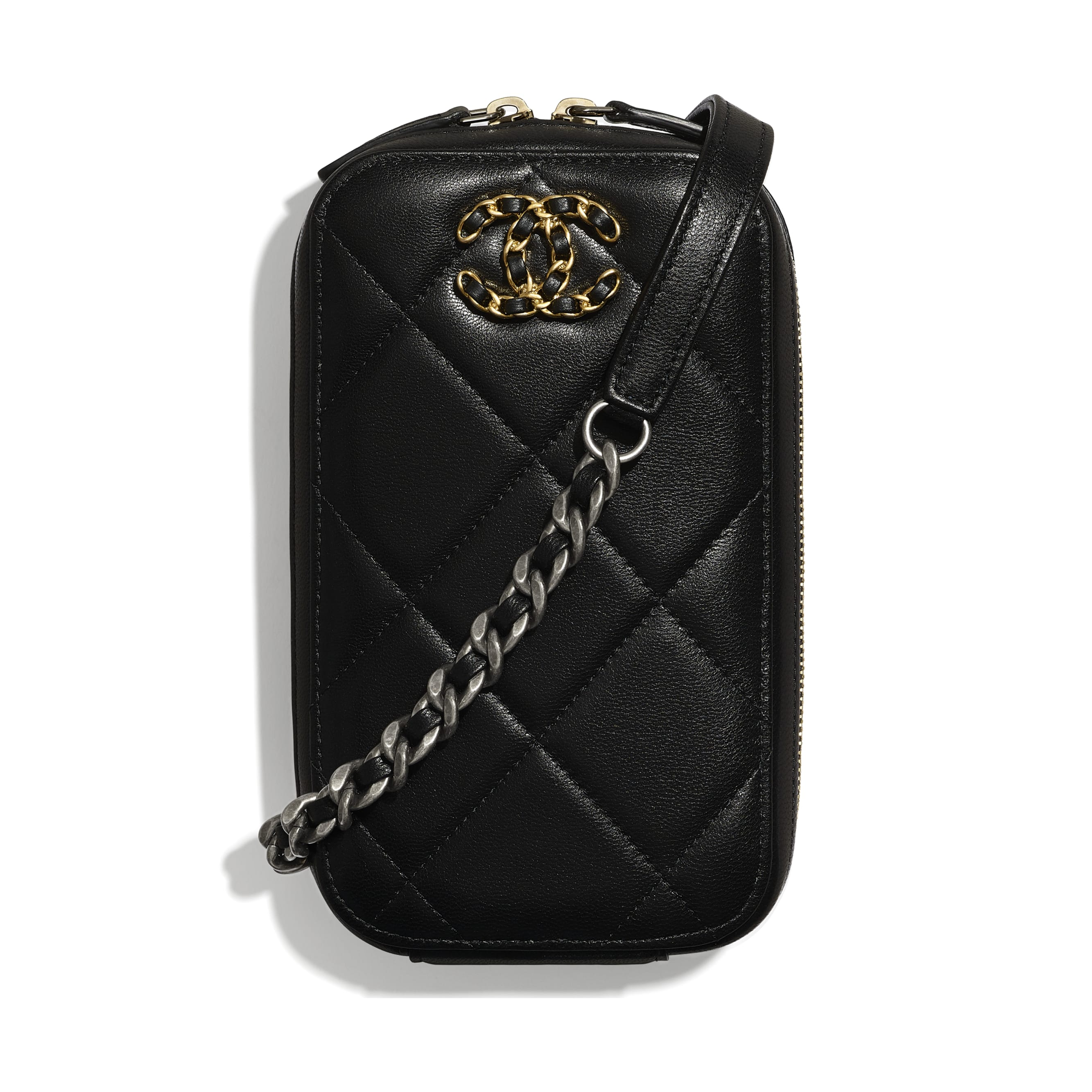 CHANEL 19 Phone Holder with Chain - Black - Shiny Goatskin, Gold-Tone, Silver-Tone & Ruthenium-Finish Metal - CHANEL - Default view - see standard sized version