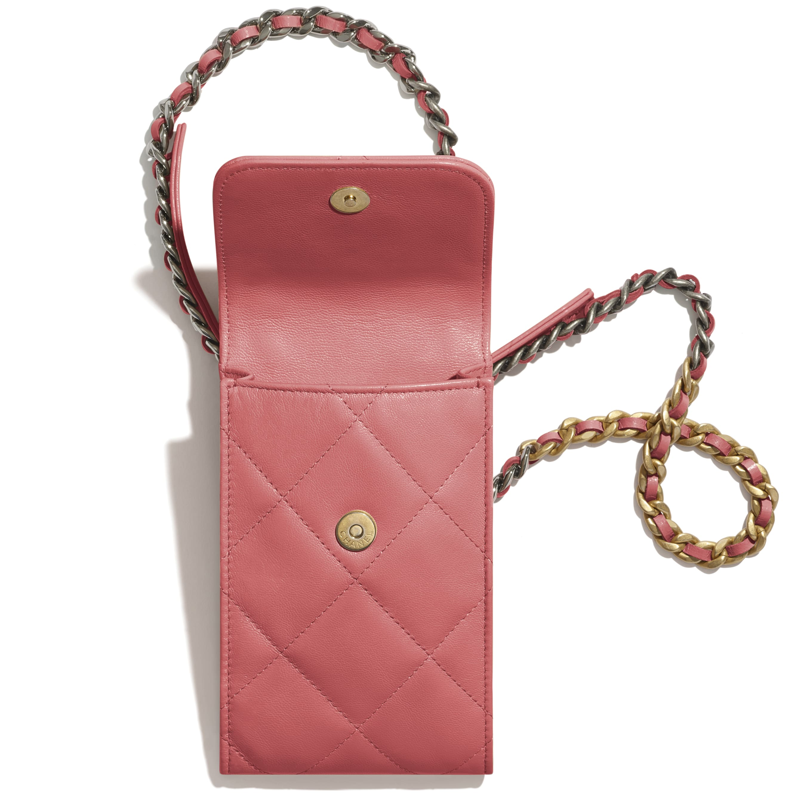 CHANEL 19 Phone Holder with Chain - Coral - Lambskin, Gold-Tone, Silver-Tone & Ruthenium-Finish Metal - CHANEL - Alternative view - see standard sized version