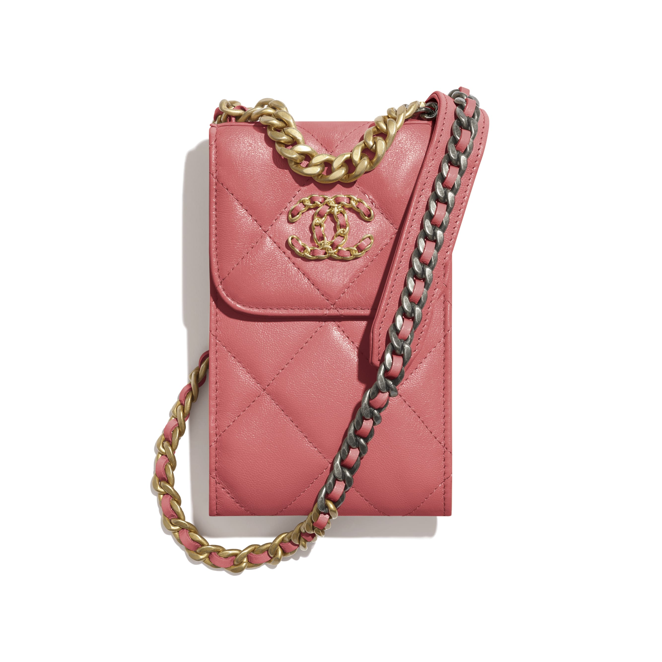 CHANEL 19 Phone Holder with Chain - Coral - Lambskin, Gold-Tone, Silver-Tone & Ruthenium-Finish Metal - CHANEL - Default view - see standard sized version