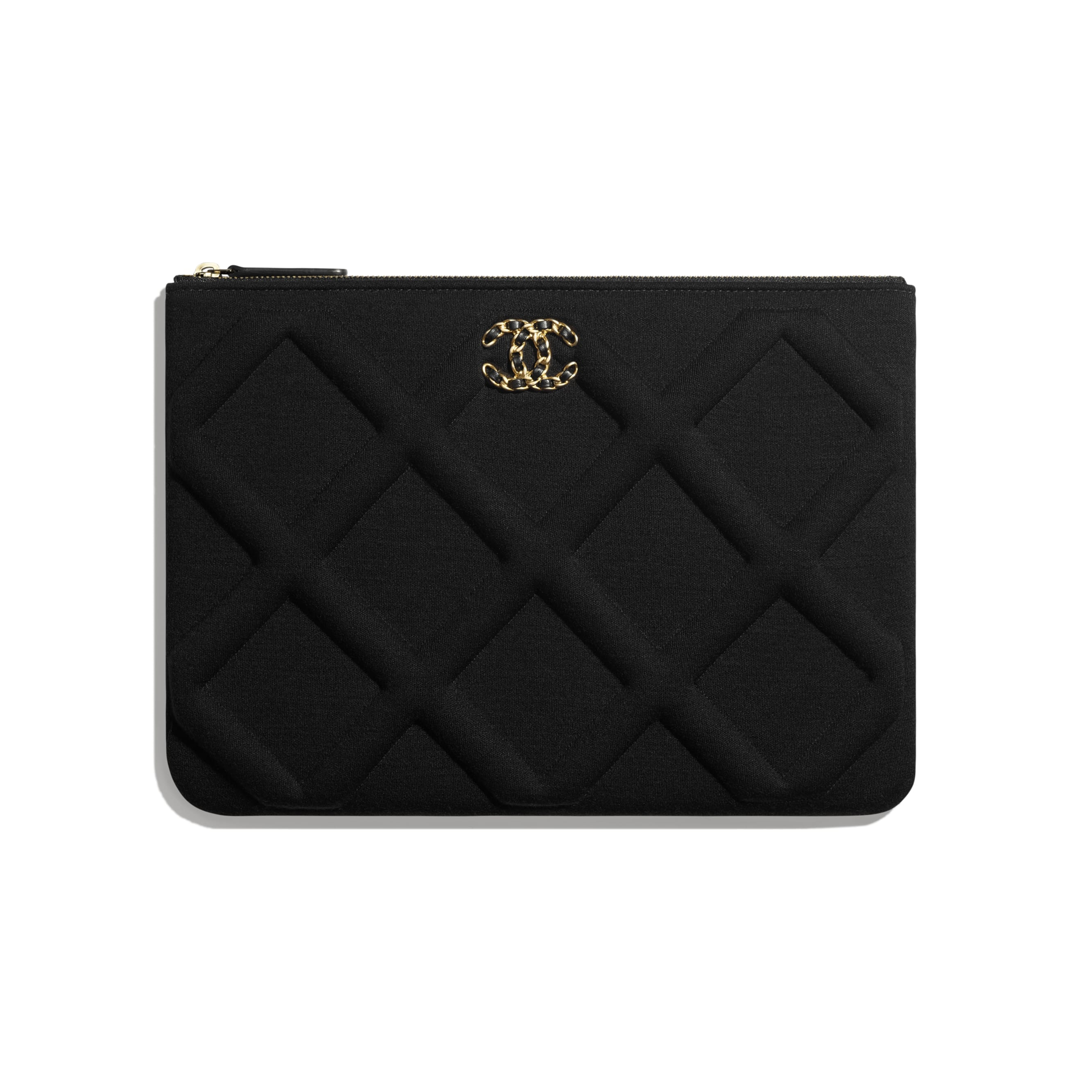 CHANEL 19 Pouch - Black - Jersey, Gold-Tone, Silver-Tone & Ruthenium-Finish Metal - Default view - see standard sized version