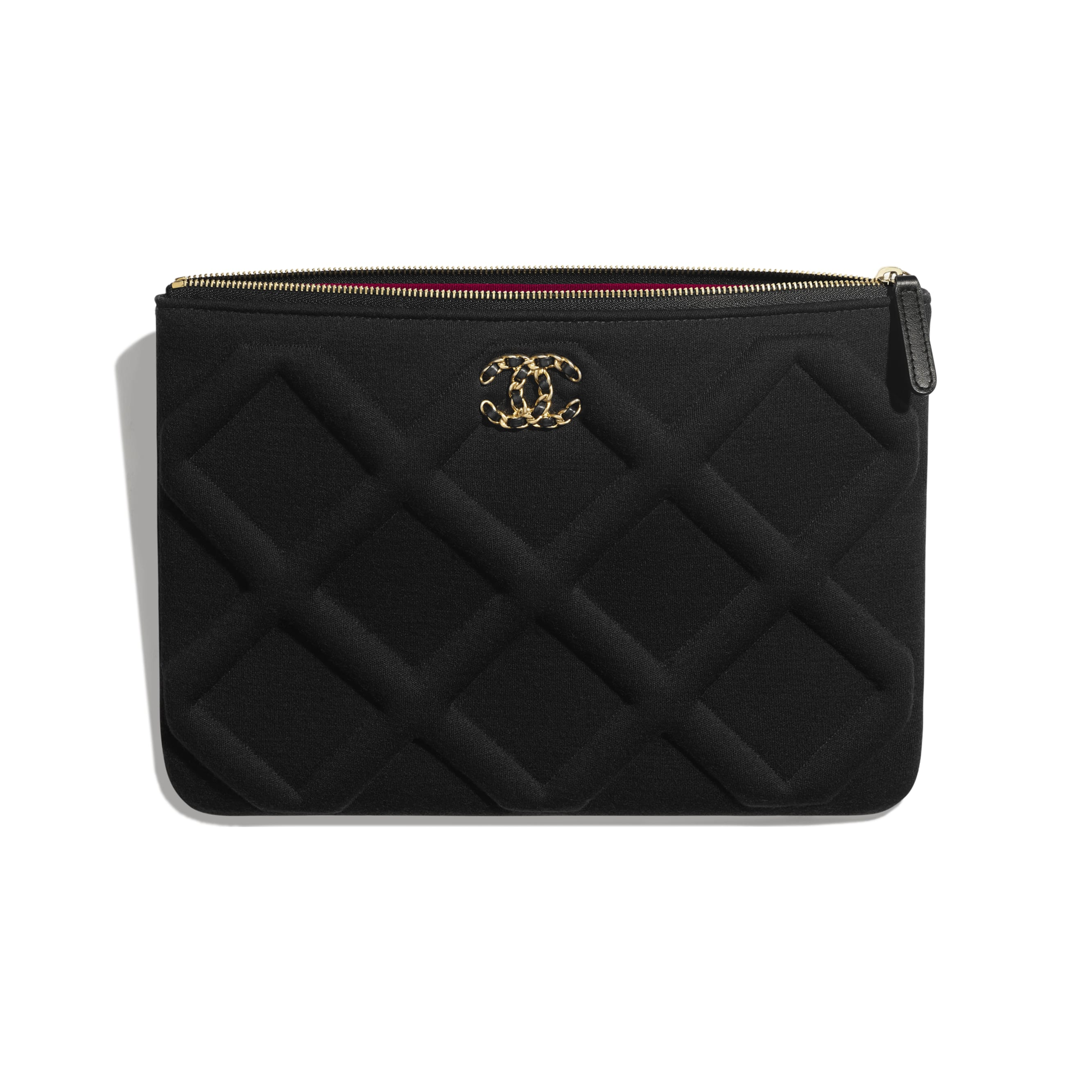 CHANEL 19 Pouch - Black - Jersey, Gold-Tone, Silver-Tone & Ruthenium-Finish Metal - Other view - see standard sized version